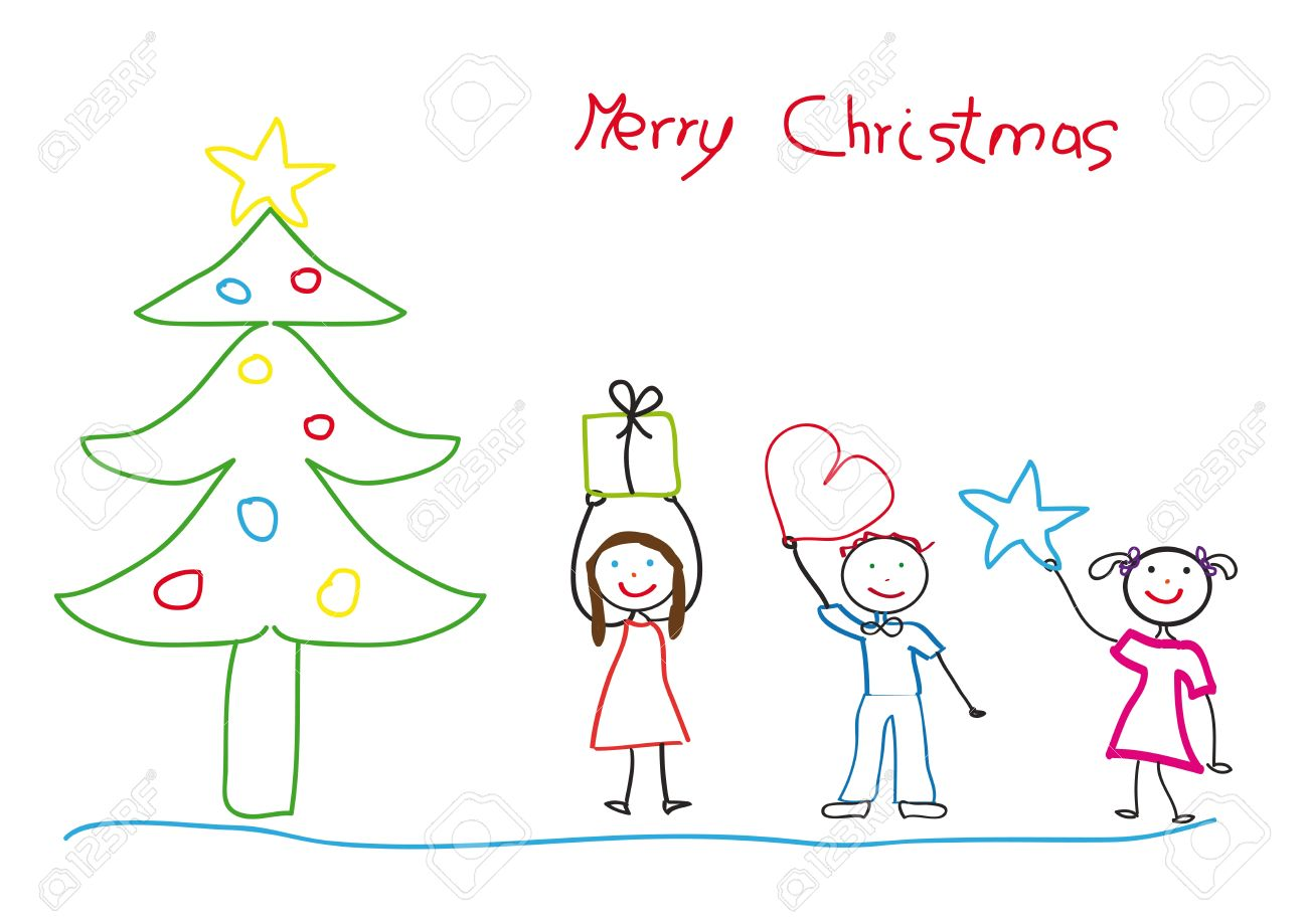 Kids Drawing With Christmas Tree And Children Royalty Free Cliparts