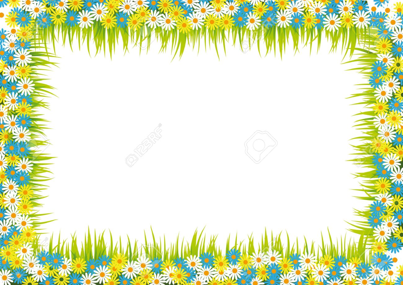 Colorful And Summer Frame With Flowers And Grass Royalty Free ...