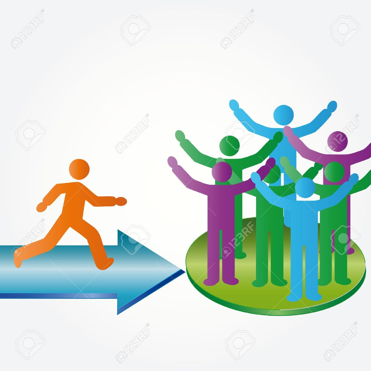 Person join happy people members company group Stock Vector - 11151674