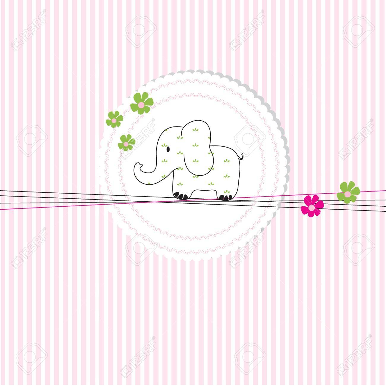 Cute baby card on birthday or shower Stock Vector - 11586503