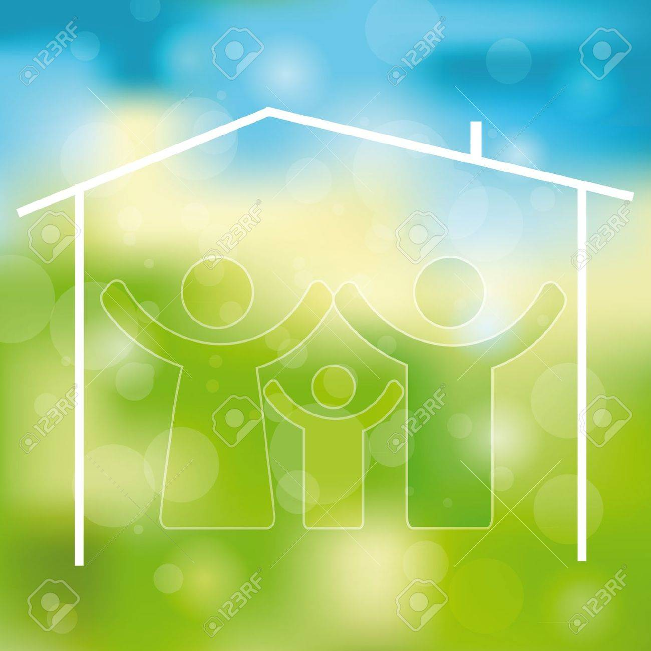 Green and blue light abstract background with family icon Stock Vector - 12293021