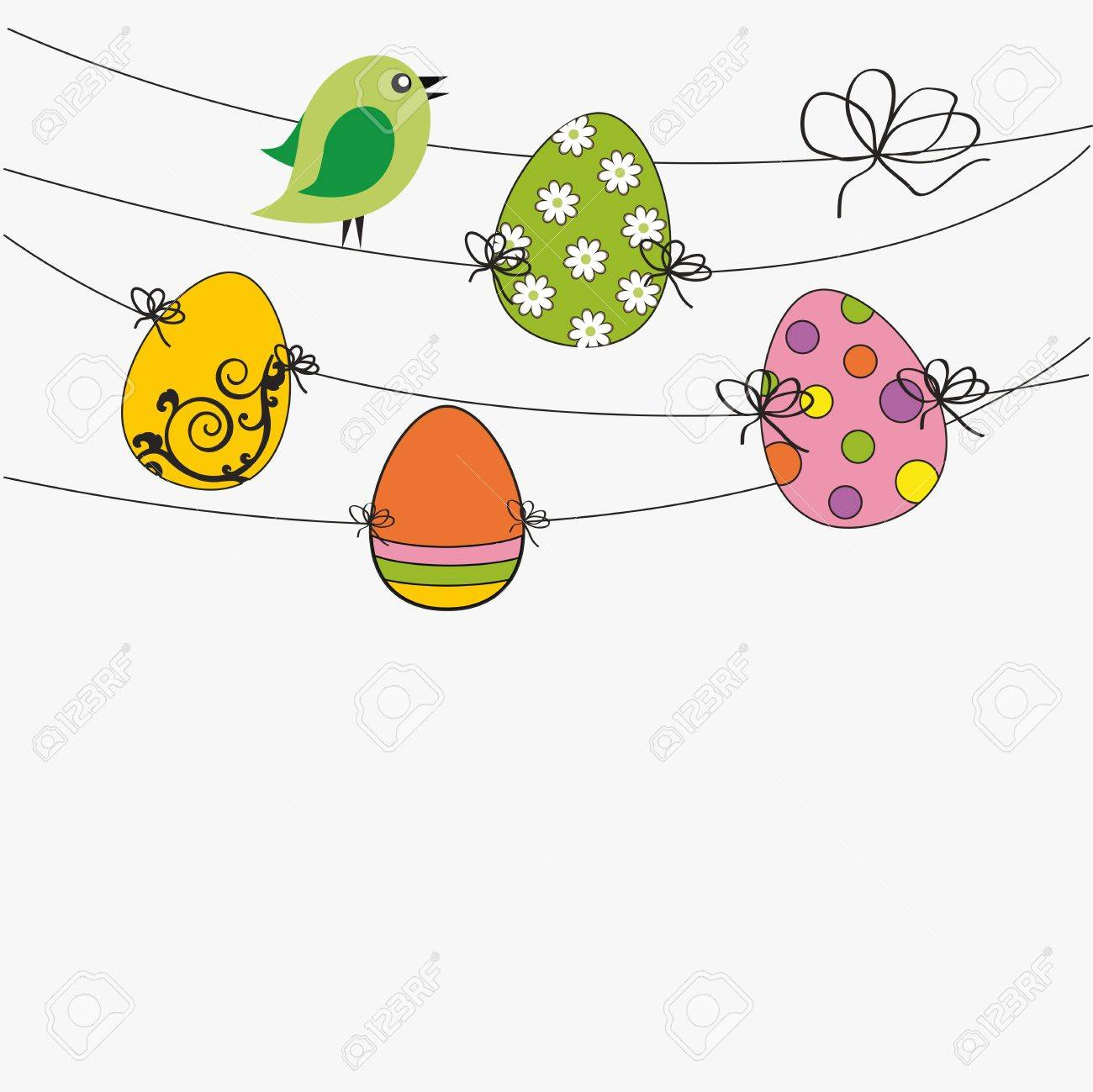 Easter colorful card with birds and eggs Stock Vector - 12293074