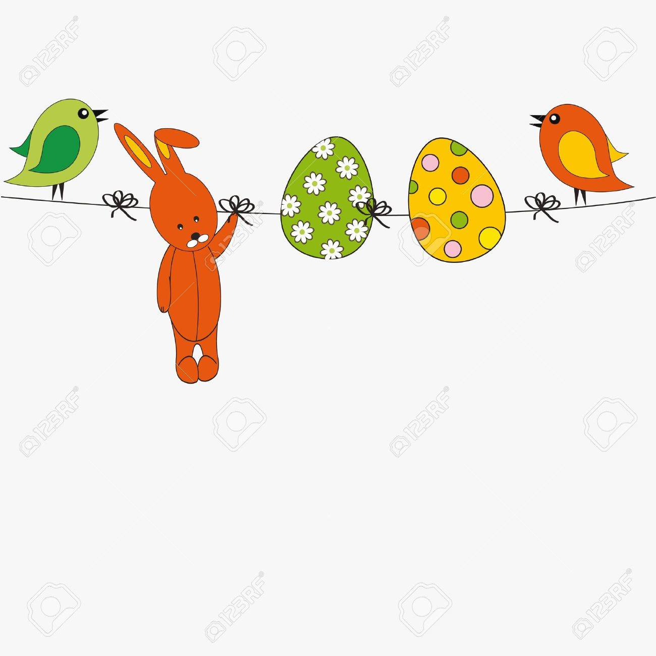 Easter colorful card with birds, rabbit and eggs Stock Vector - 12293034