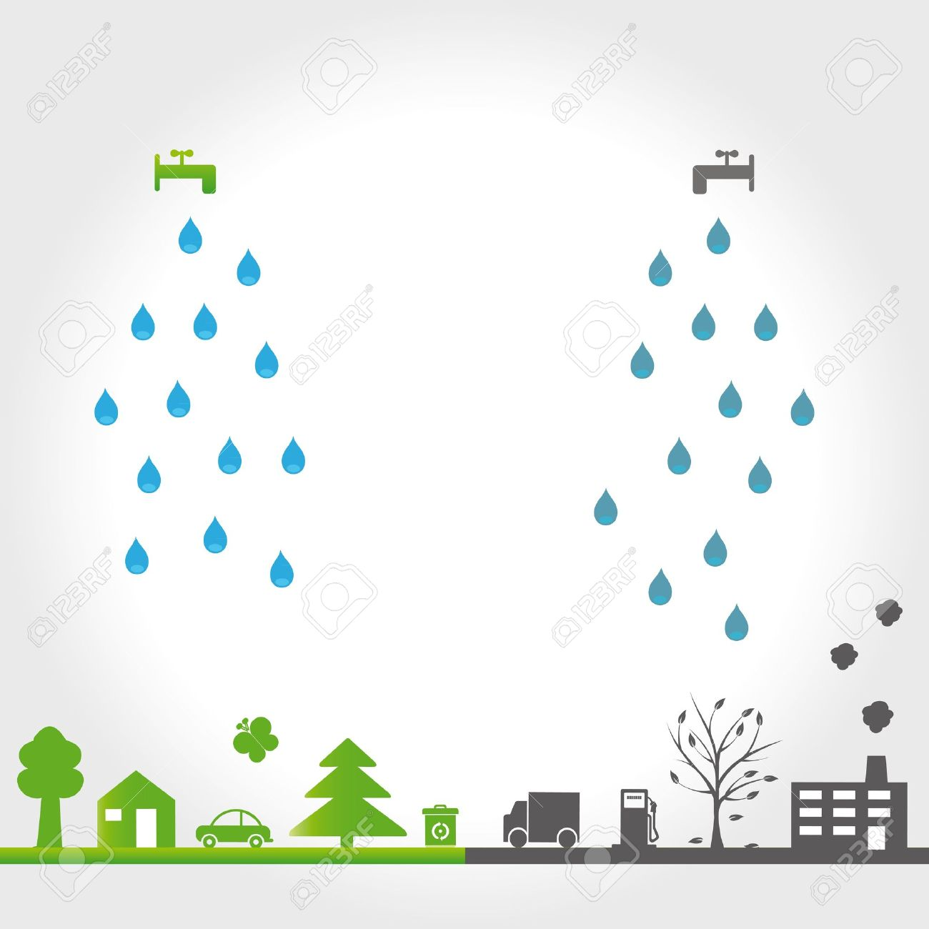 Protect the earth environment symbols on clean or dirty earth protect the earth environment symbols on clean or dirty earth stock vector 12293068 biocorpaavc Choice Image