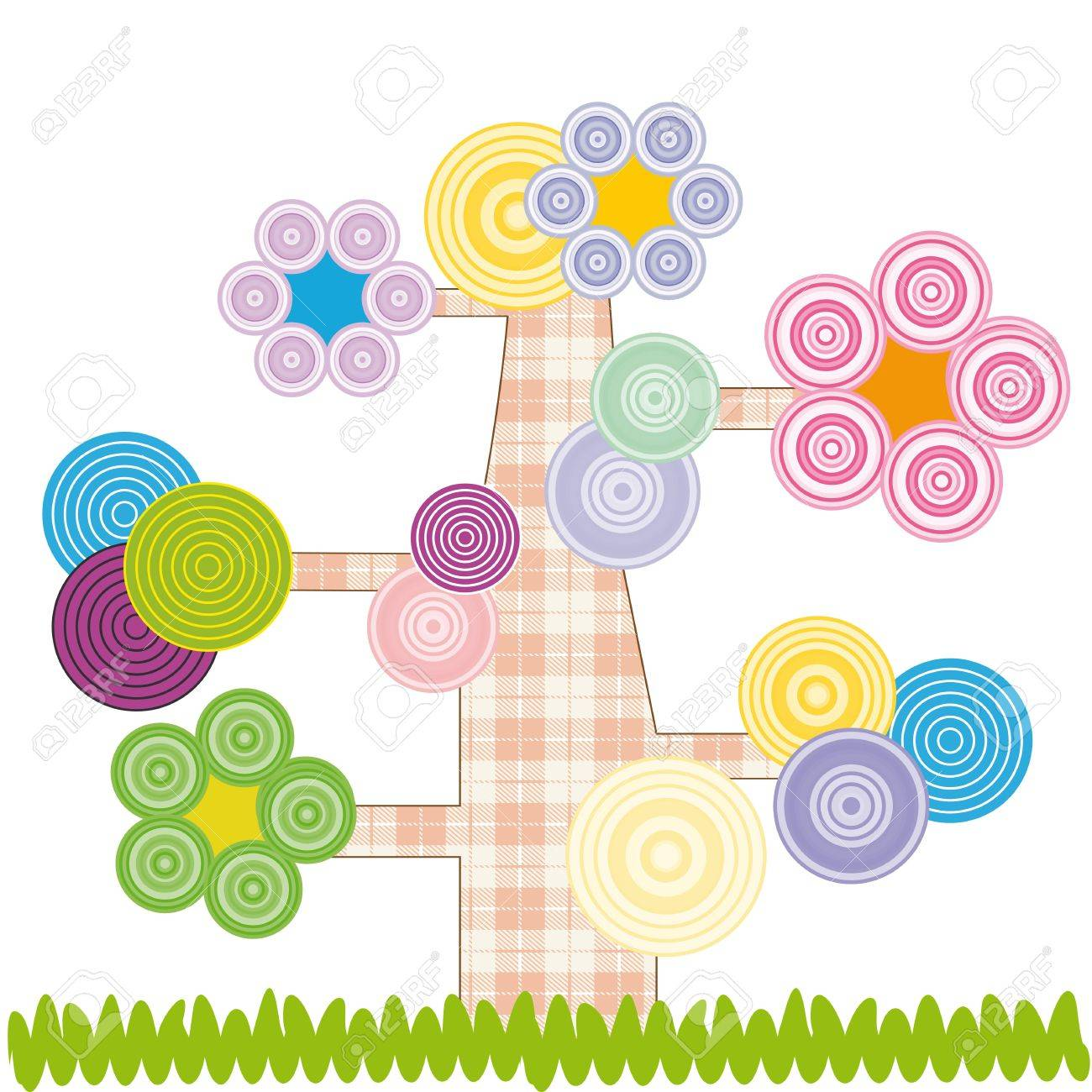Cute kids cartoon with tree and flowers Stock Vector - 12494137