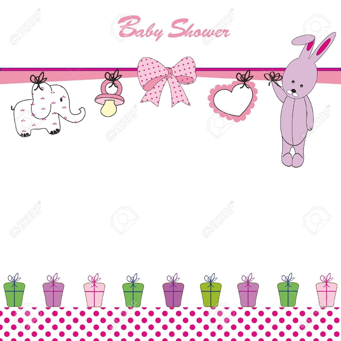 Cute Baby Background On Birthday Or Shower Stock Vector   12747226