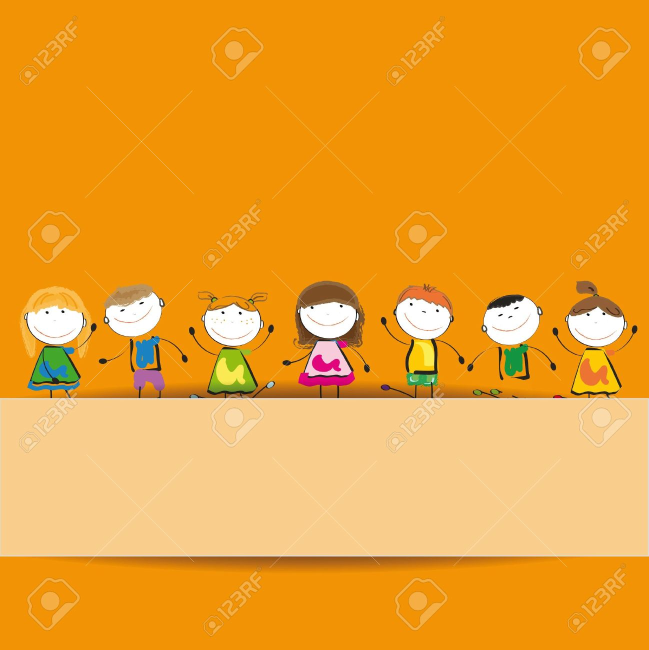 small and smile kids with banner royalty free cliparts vectors