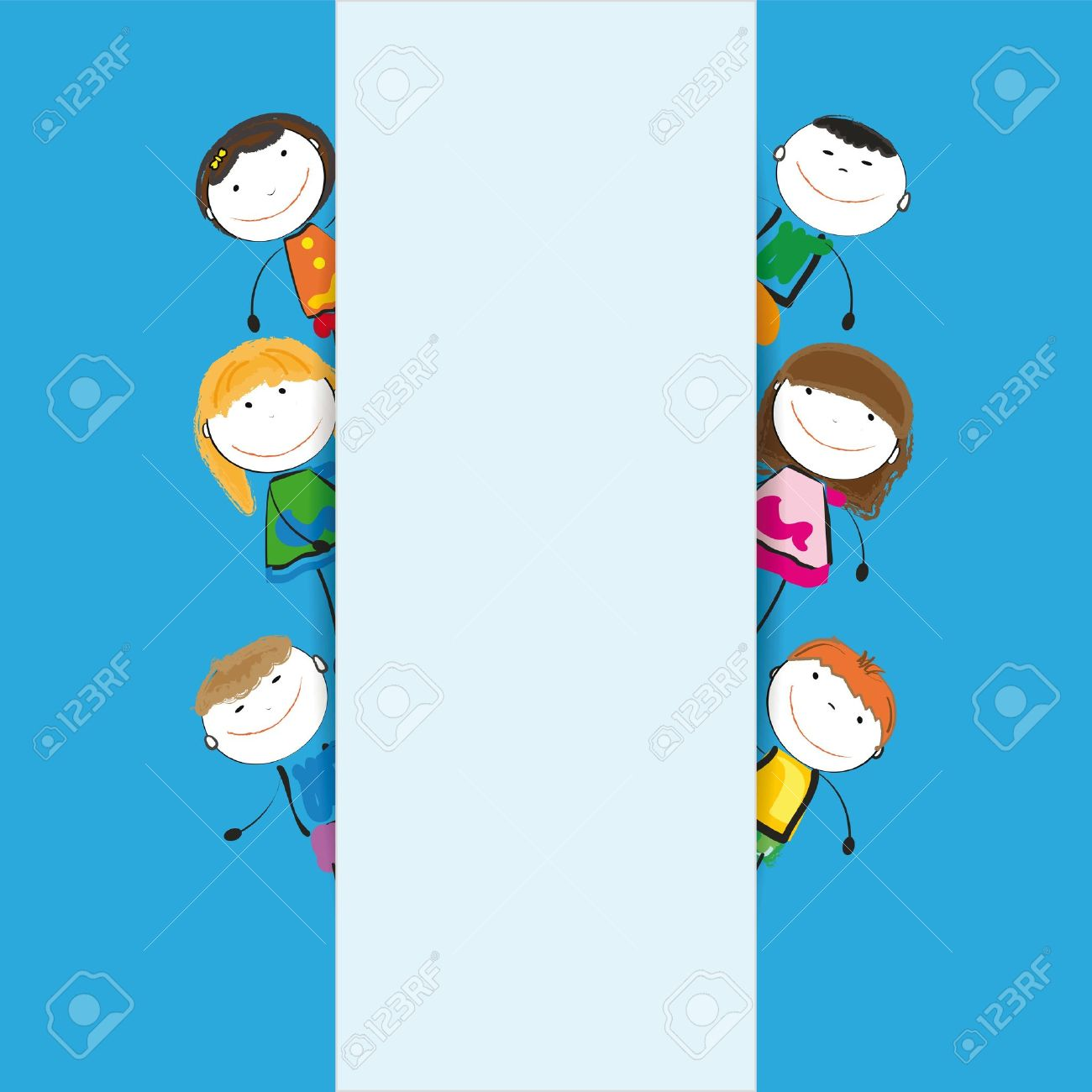 Small and smile kids with banner Stock Vector - 12747270