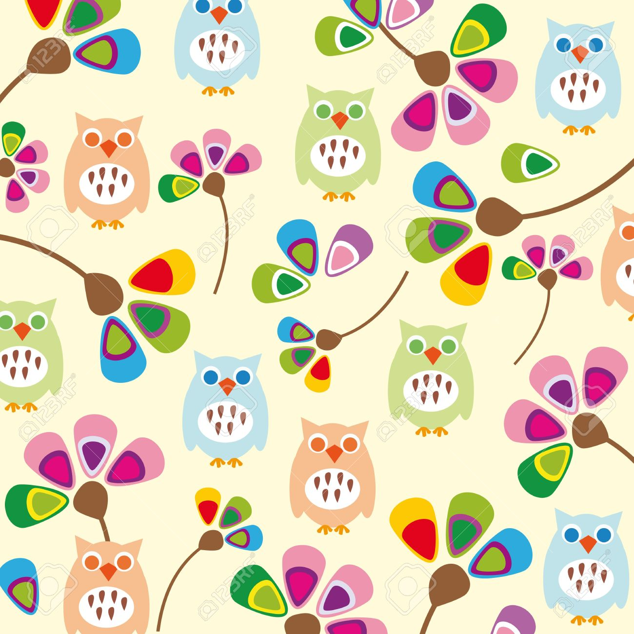 cute kids background with flowers and owls royalty free cliparts