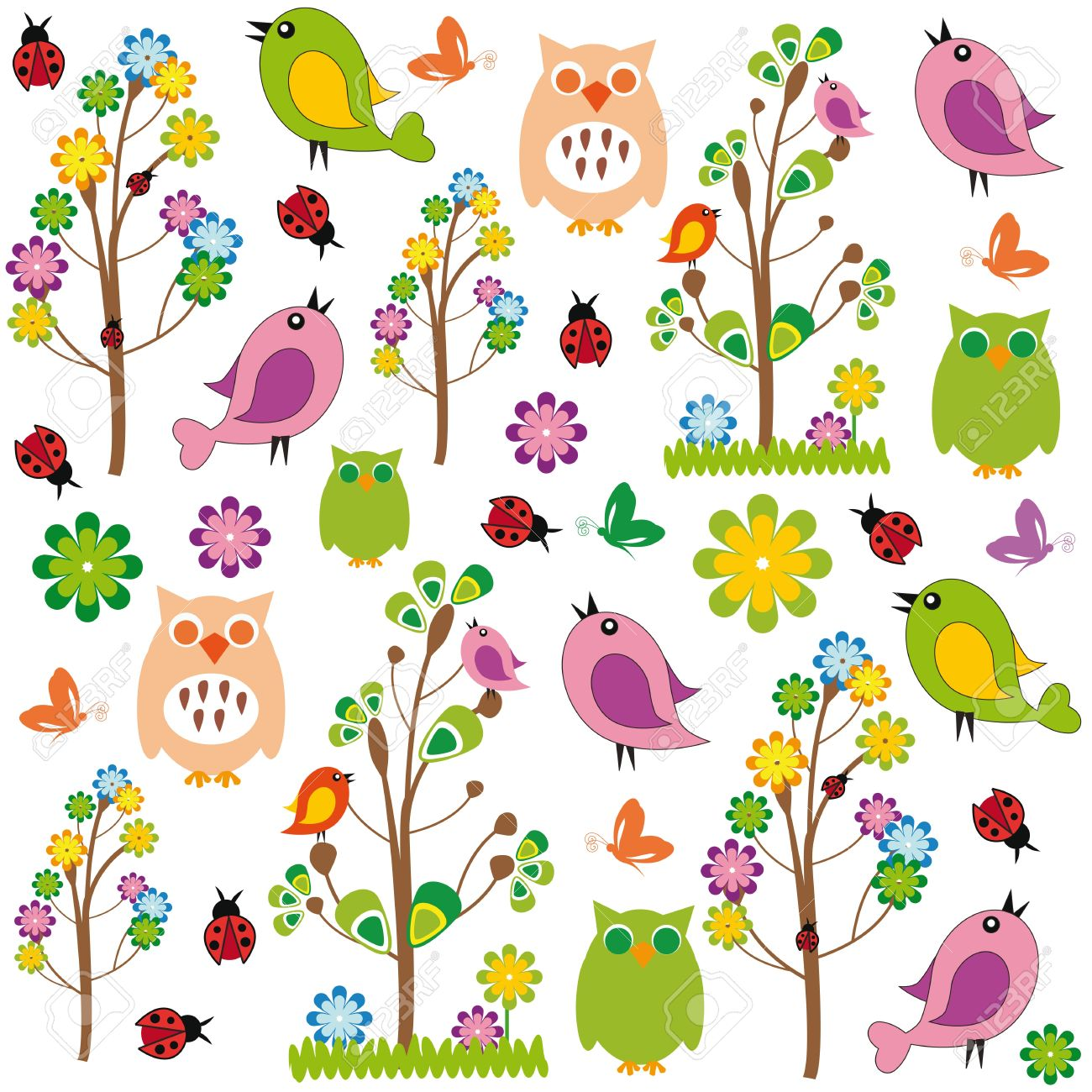 Cute kids cartoon with flowers and birds Stock Vector - 12747290