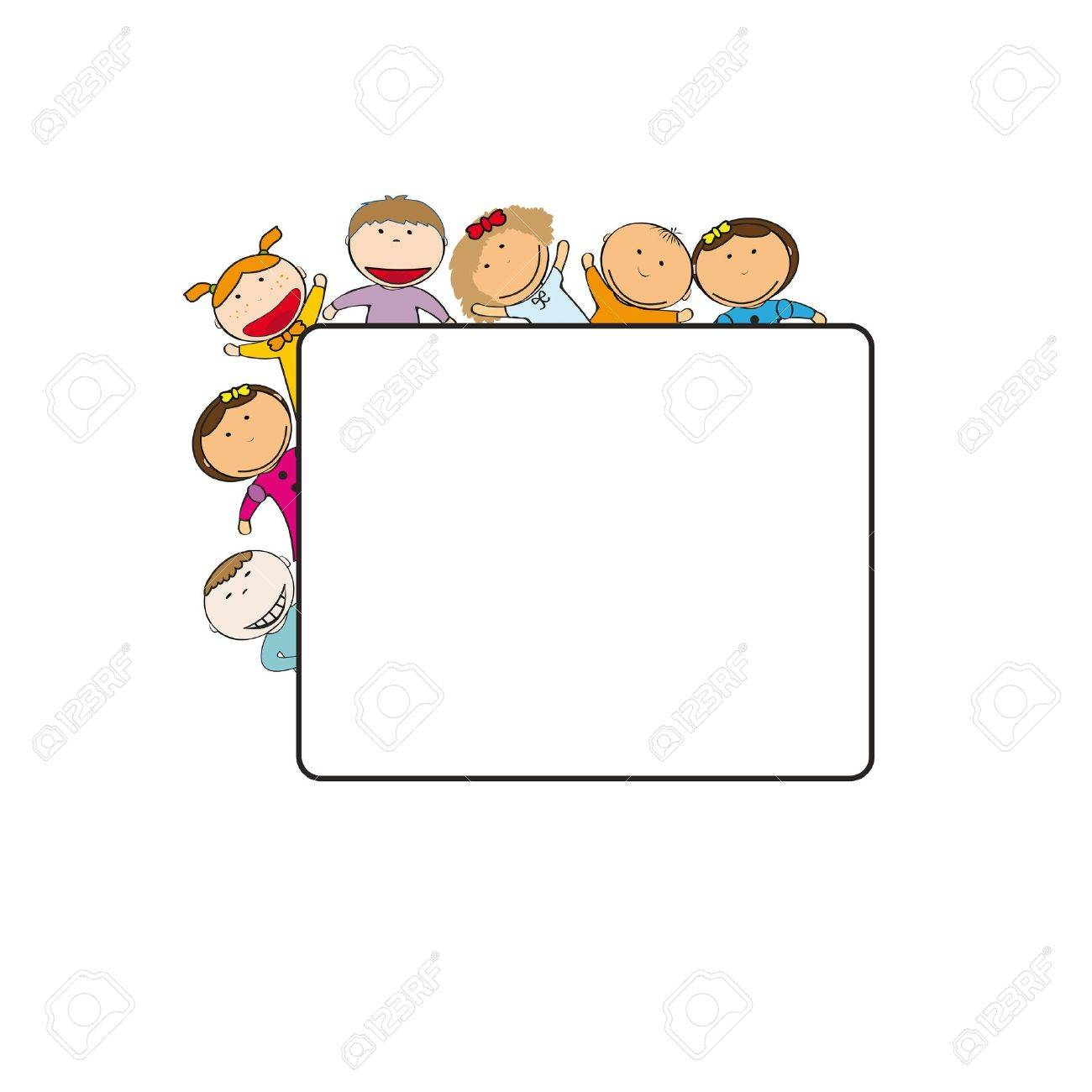 Small and smile kids with banner Stock Vector - 12747286