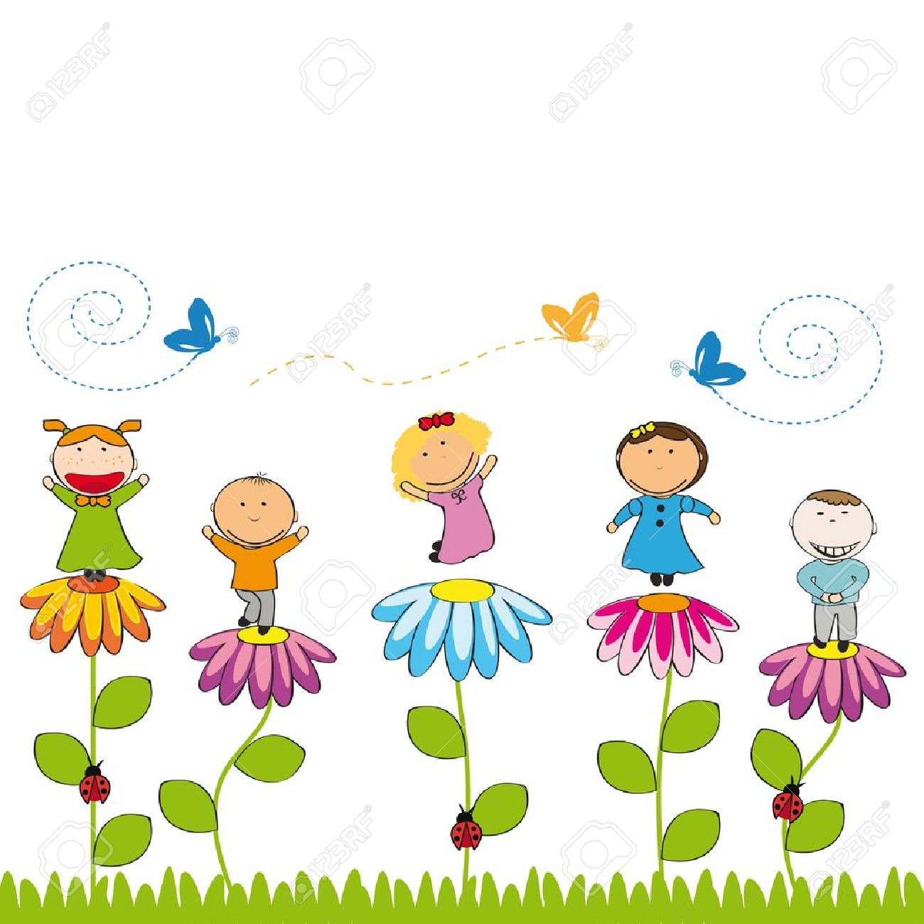 Small and smile kids with flowers in garden Stock Vector - 12976715