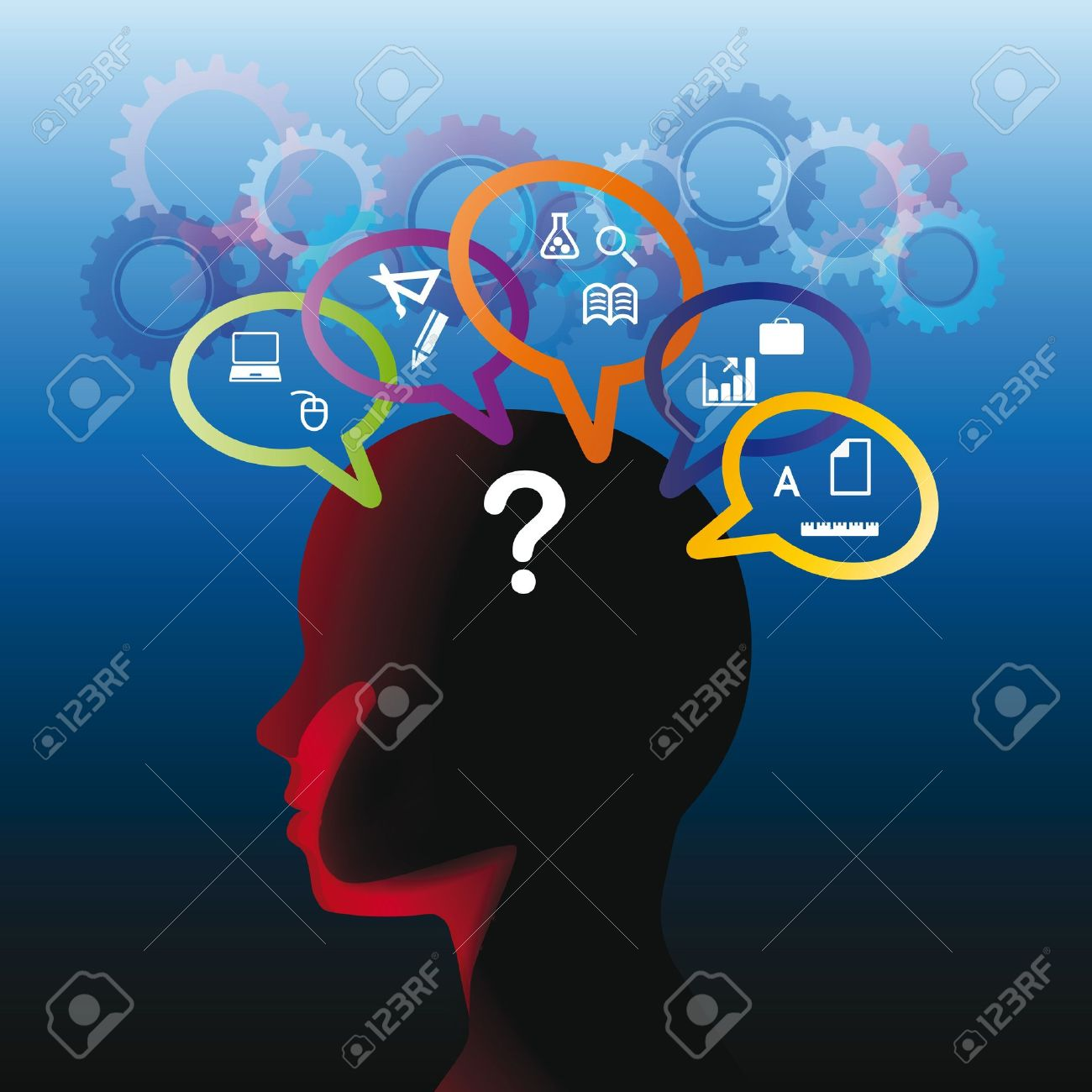 Human head with many question, thinking abstract Stock Vector - 13134489