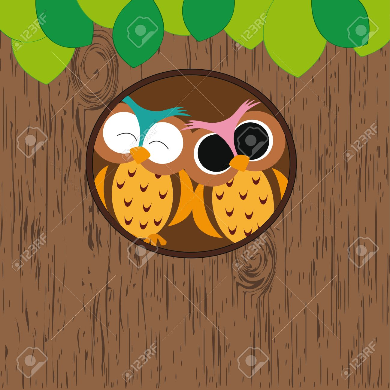 Abstract background with owls in hollow on tree Stock Vector - 13134477