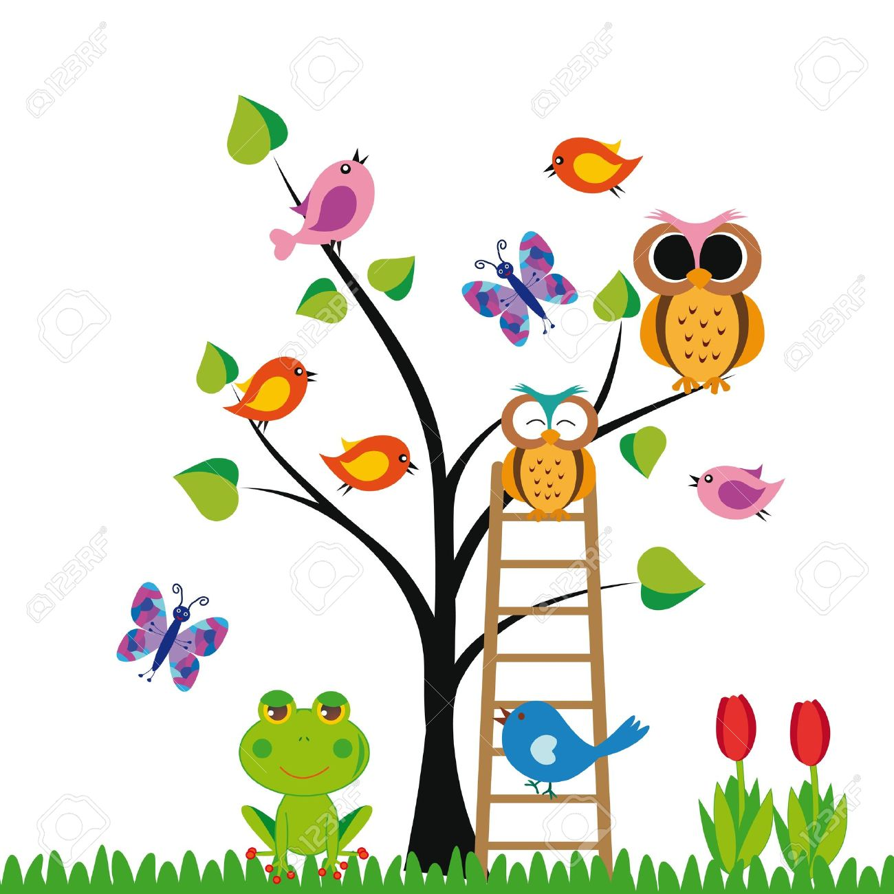 cute kids background with trees and birds royalty free cliparts