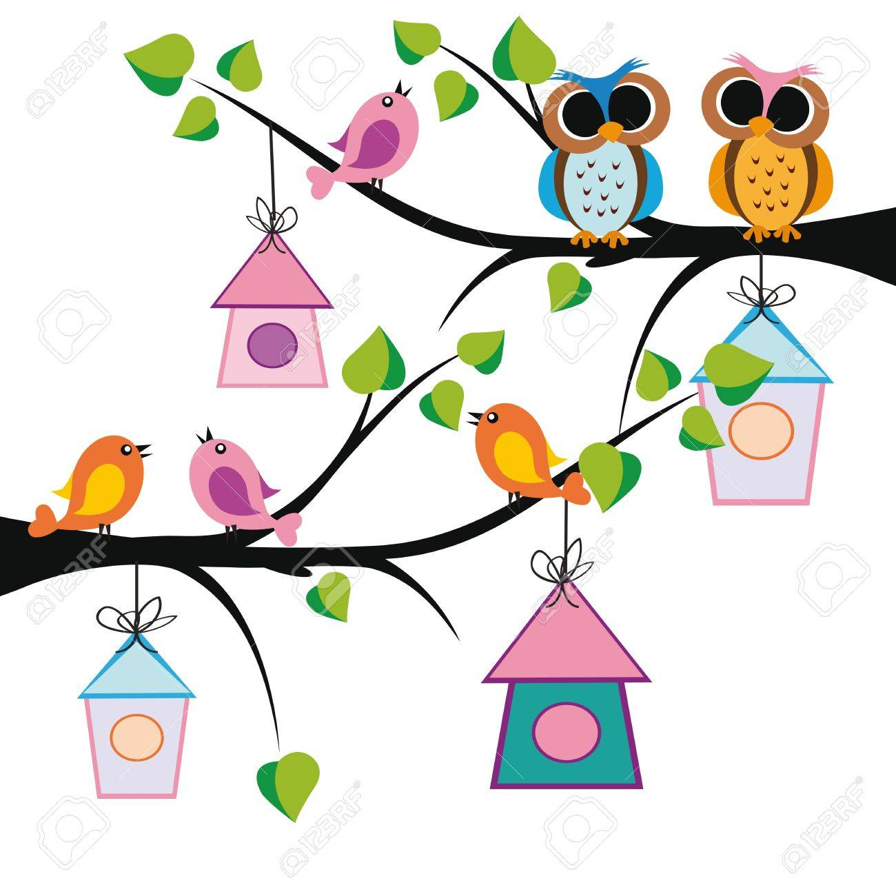 Cute kids background with trees and birds Stock Vector - 13134470