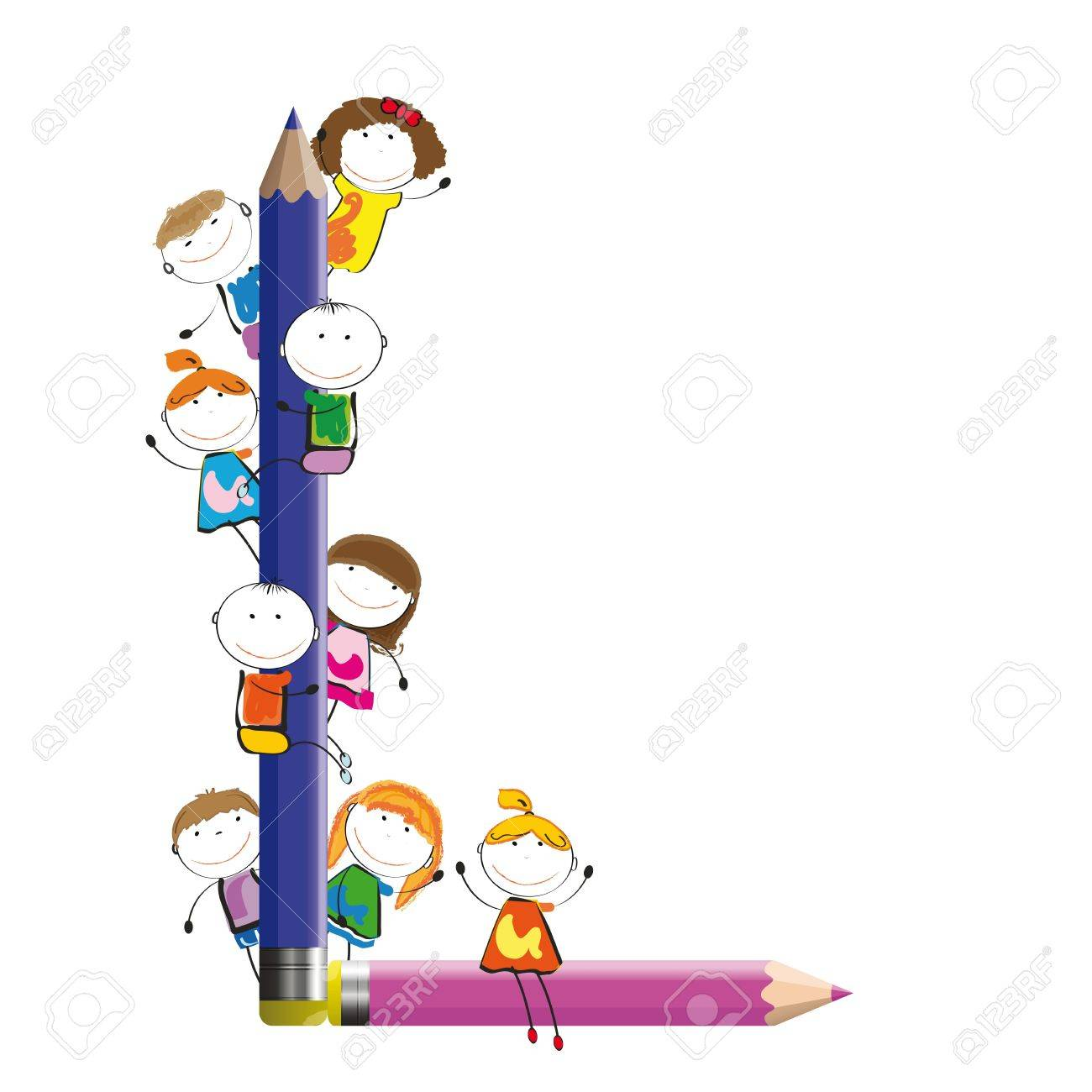 Happy kids and letter L with crayons Stock Vector - 13240441