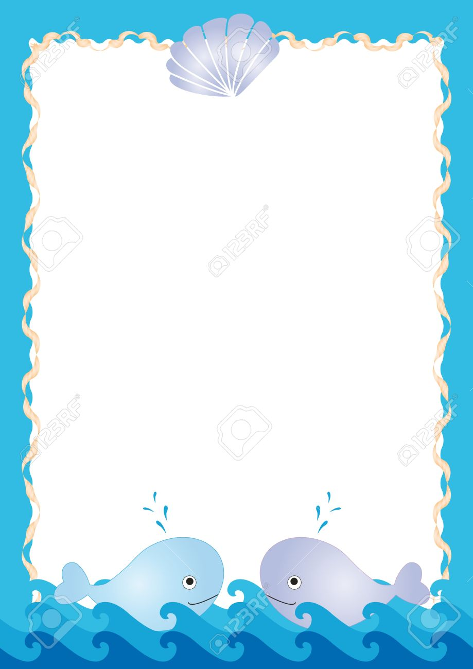 Blue sea frame with cute two whales Stock Vector - 13240437