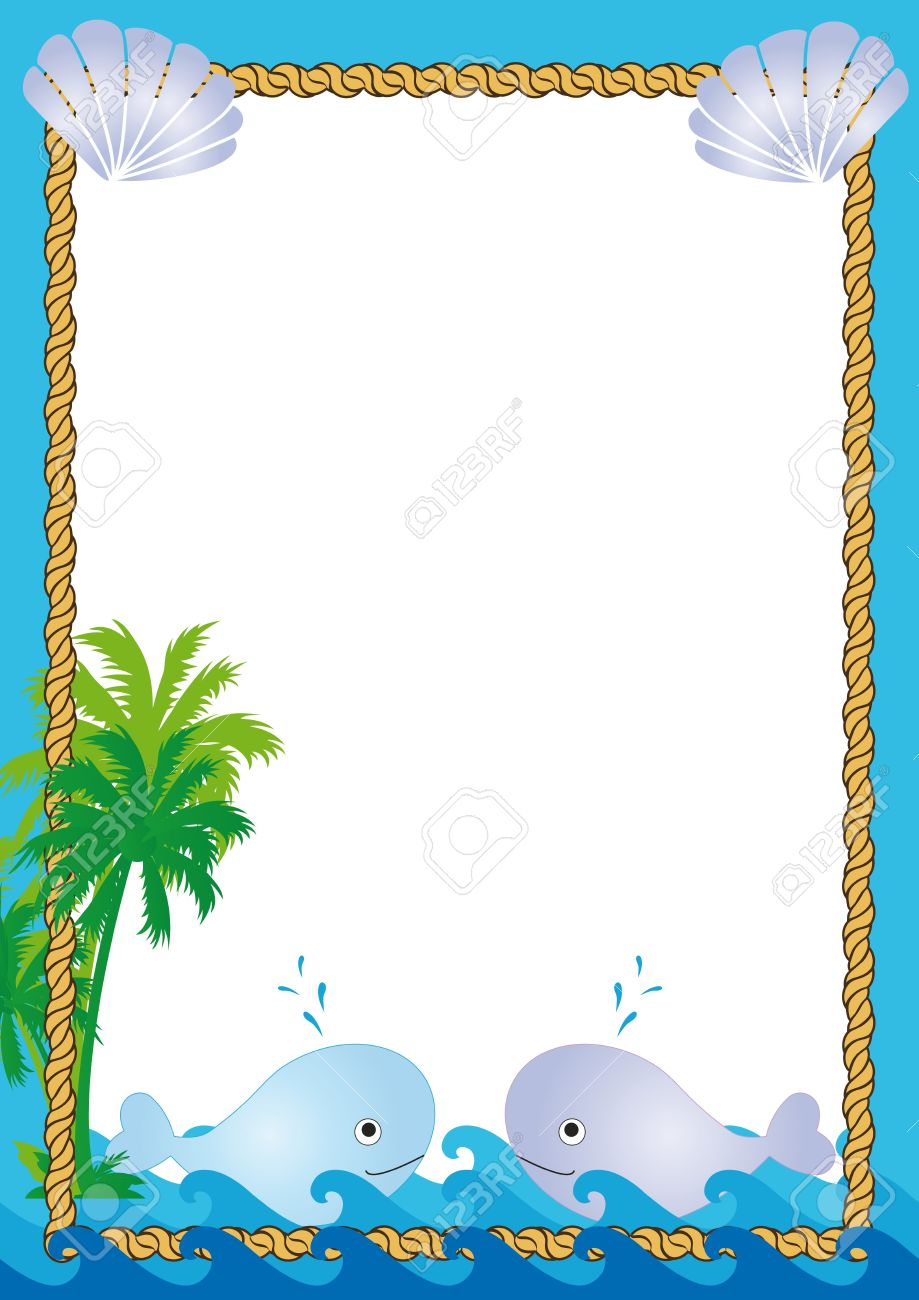 Tropical Frame With Sea, Palms And Whales Royalty Free Cliparts ...