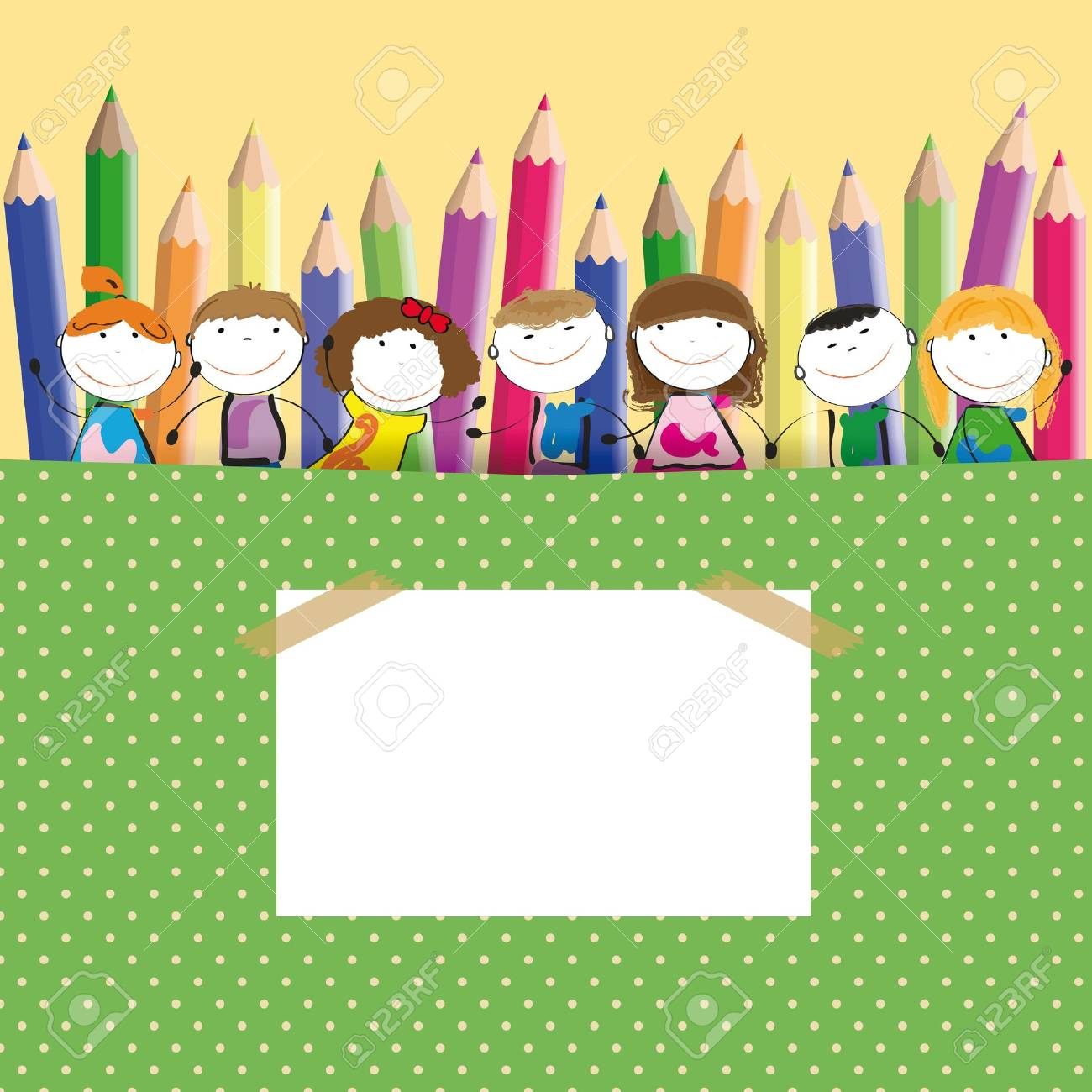 Background with happy kids and colorful crayons Stock Vector - 13362769