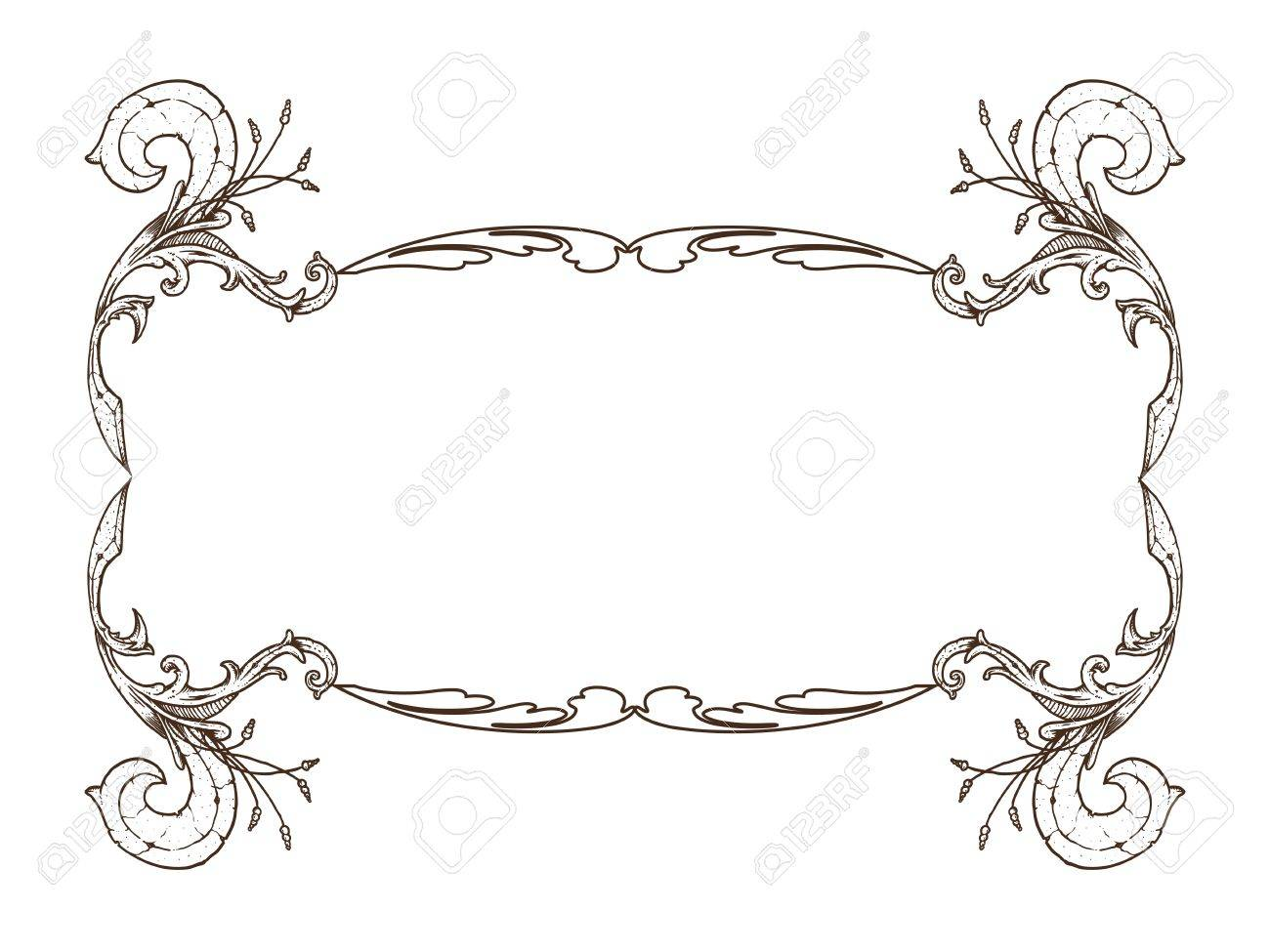 Ancient, brown frame with cute florar motif Stock Vector - 13362761