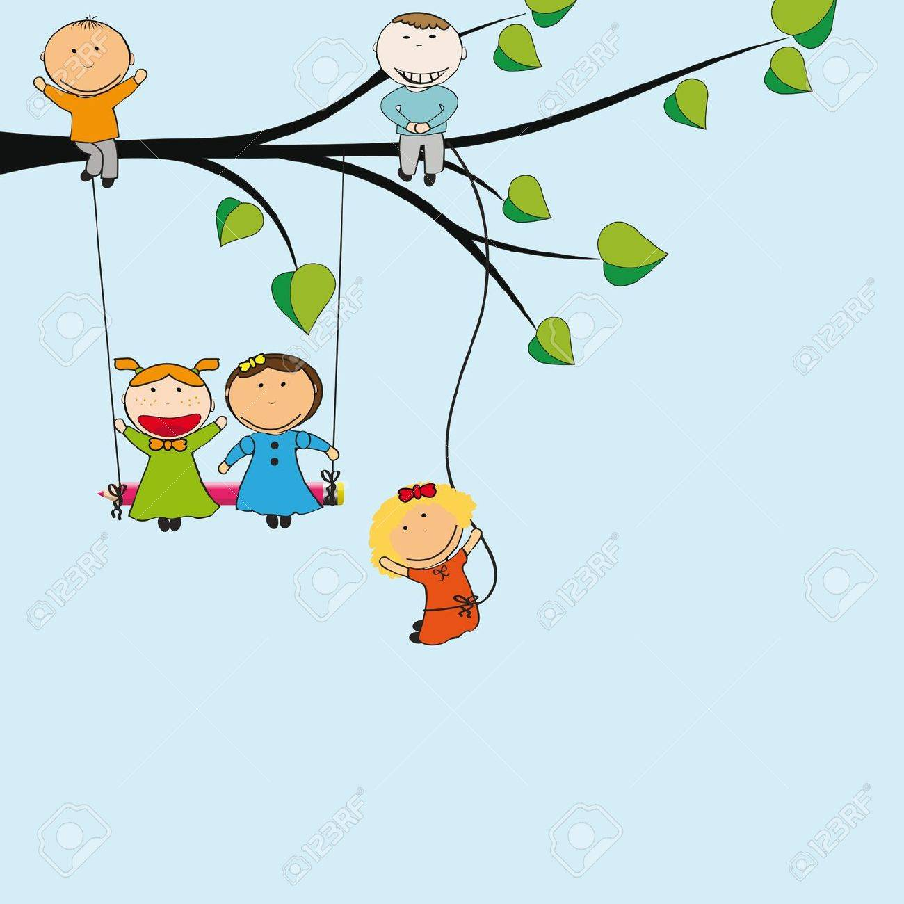 Small and happy kids on green tree Stock Vector - 13535808
