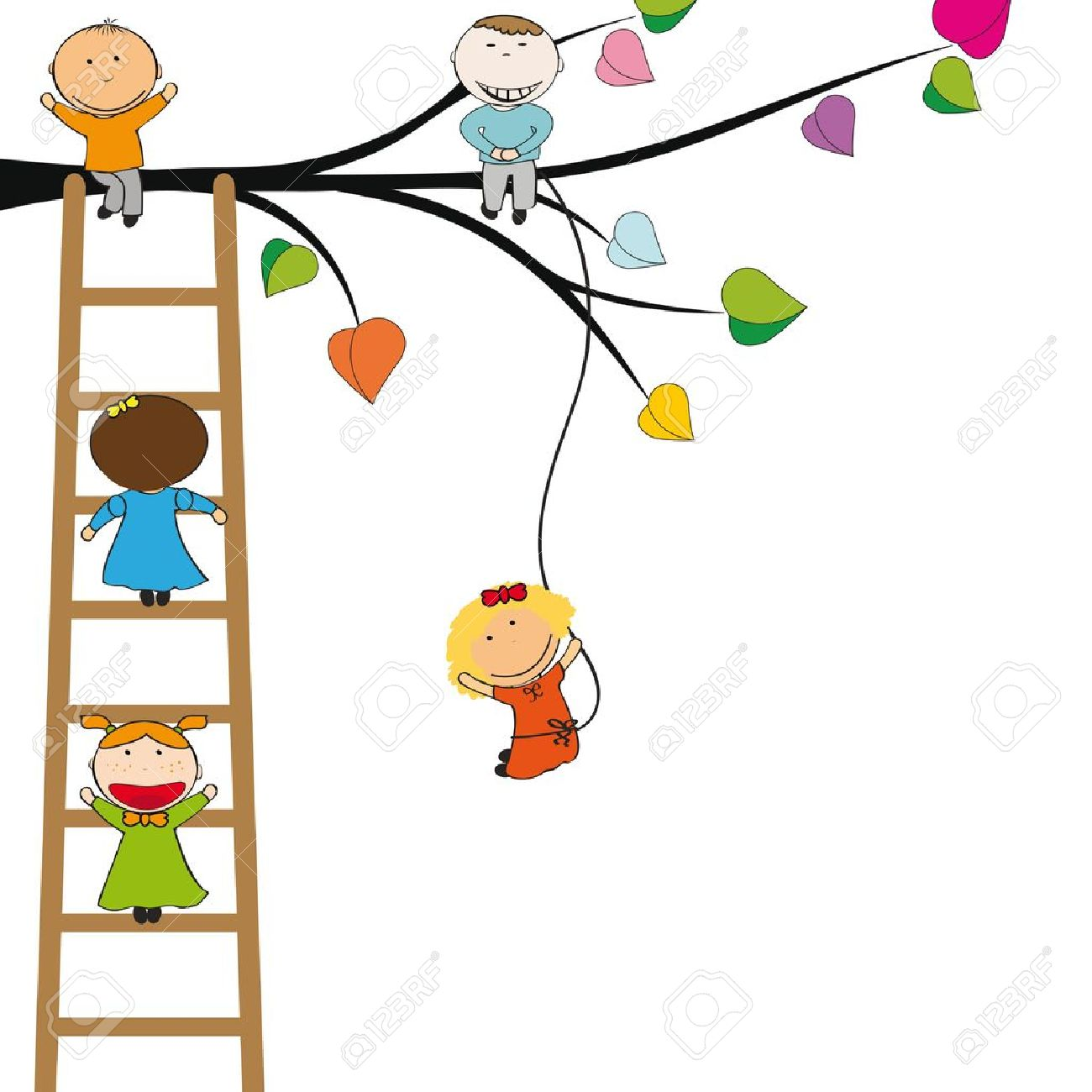 Small and happy kids on colorful tree - 13535807