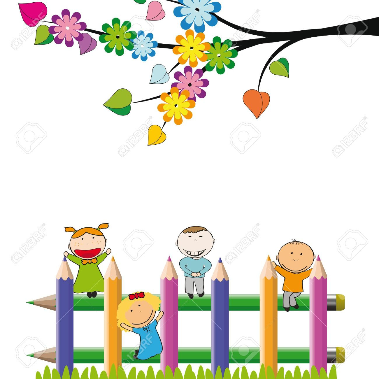 Small and happy kids on colorful fence Stock Vector - 13535810