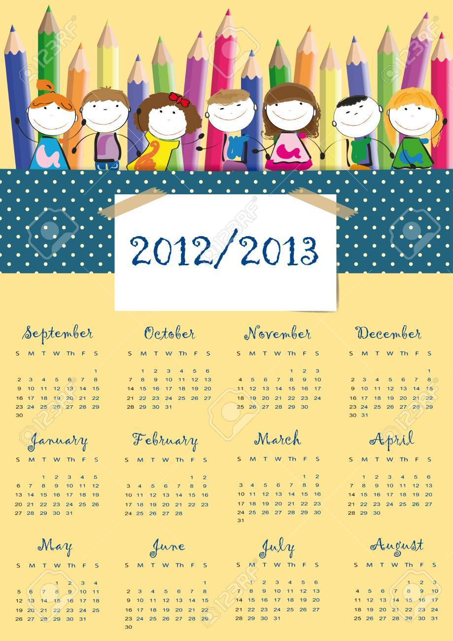 Colorful school calendar on new year school from 2012 to 2013 year Stock Vector - 13614924