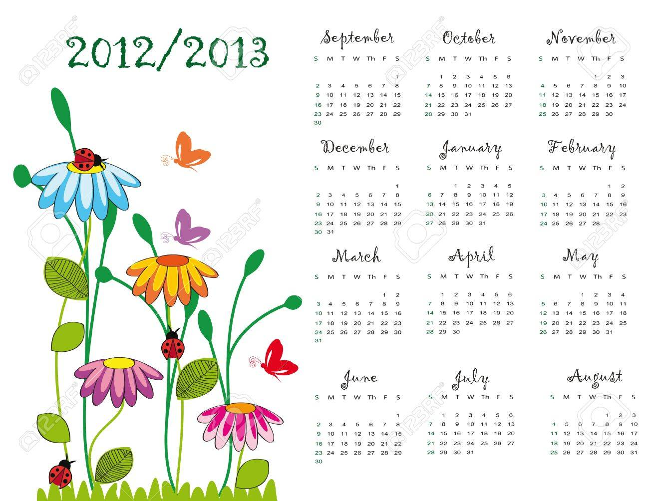 Colorful school calendar on new year school from 2012 to 2013 year Stock Vector - 13636033