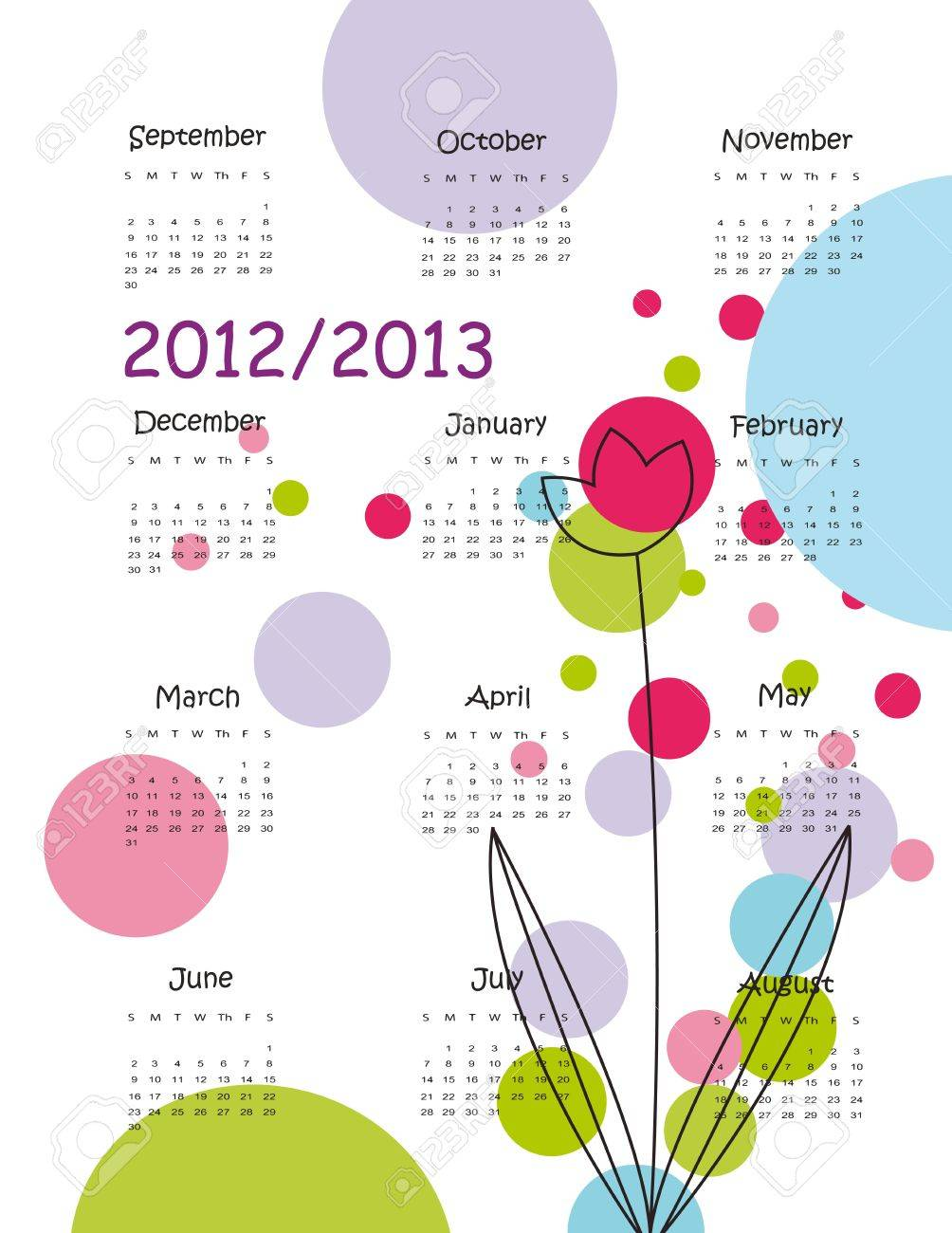 Colorful school calendar on new year school from 2012 to 2013 year Stock Vector - 13636025