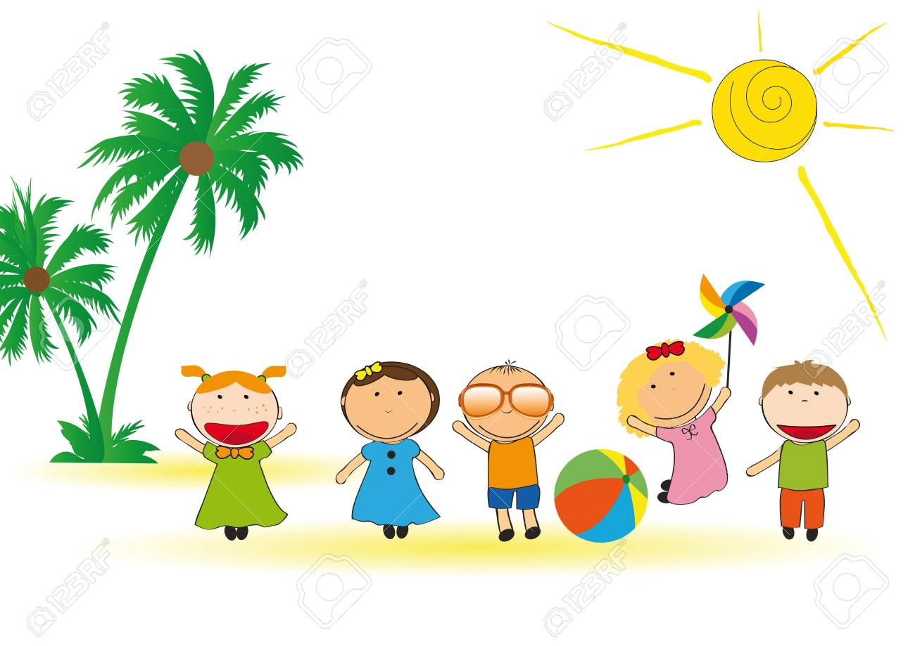 Kids Beach Clipart Happy And Colorful Playing On Stock Vector 13767994 B