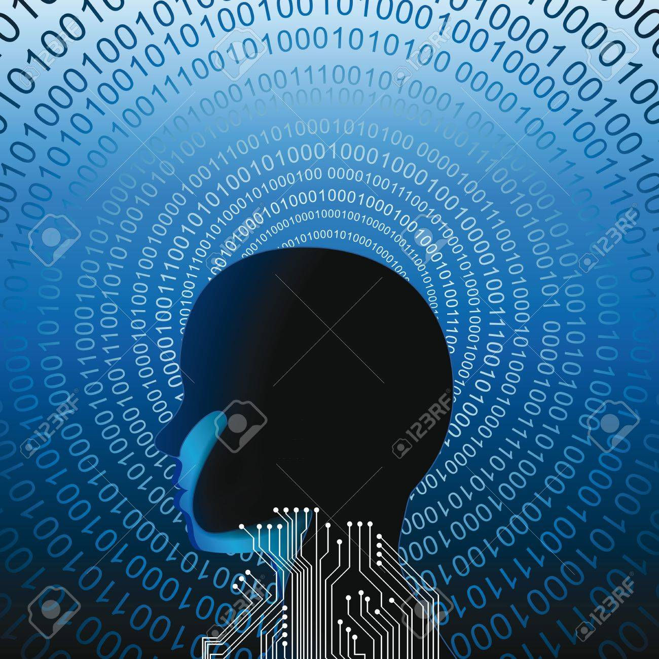 Abstarct human head with many binnary codes Stock Vector - 14594153