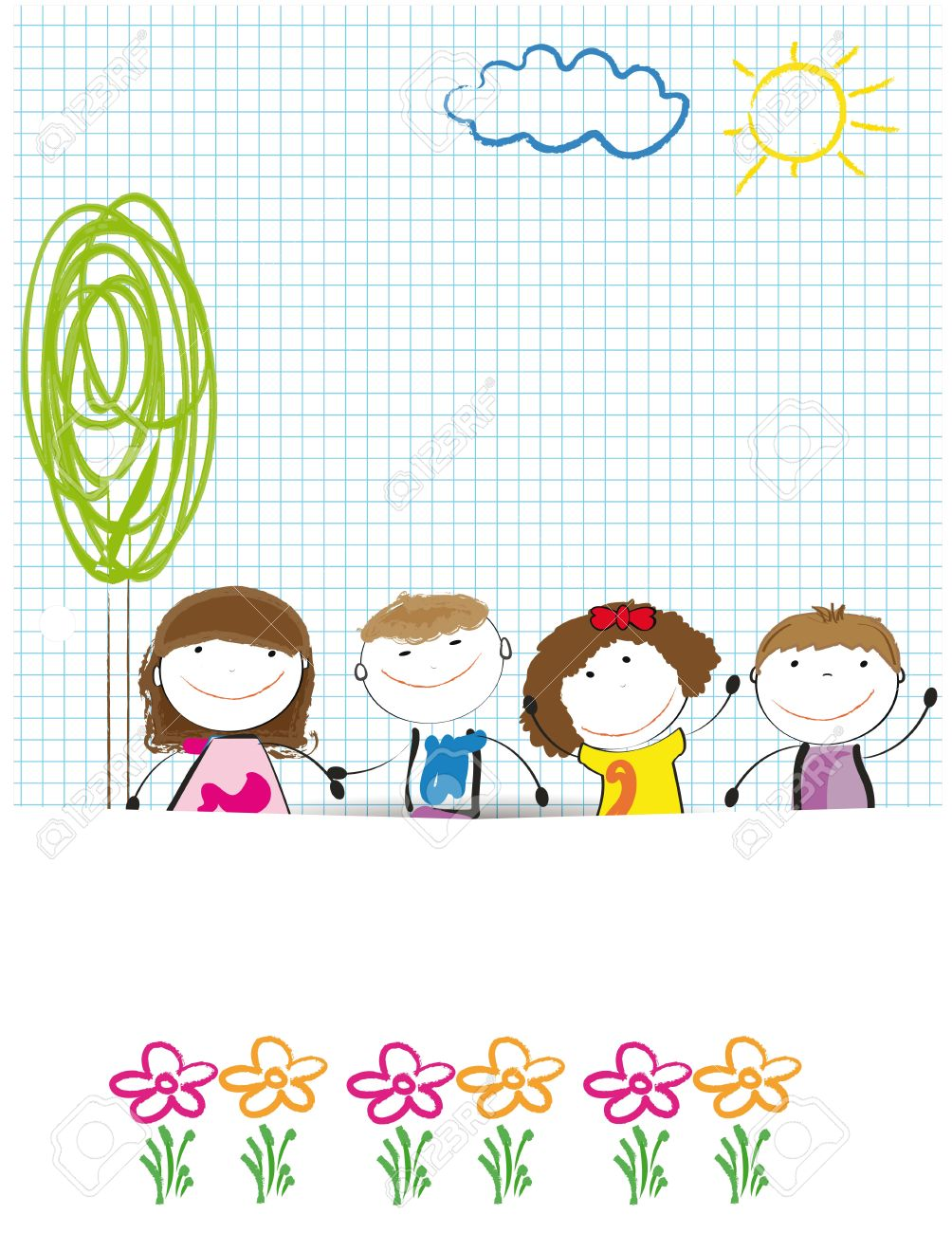 Colorful Kids Background Drwing On Sheet Of Paper Royalty Free ...