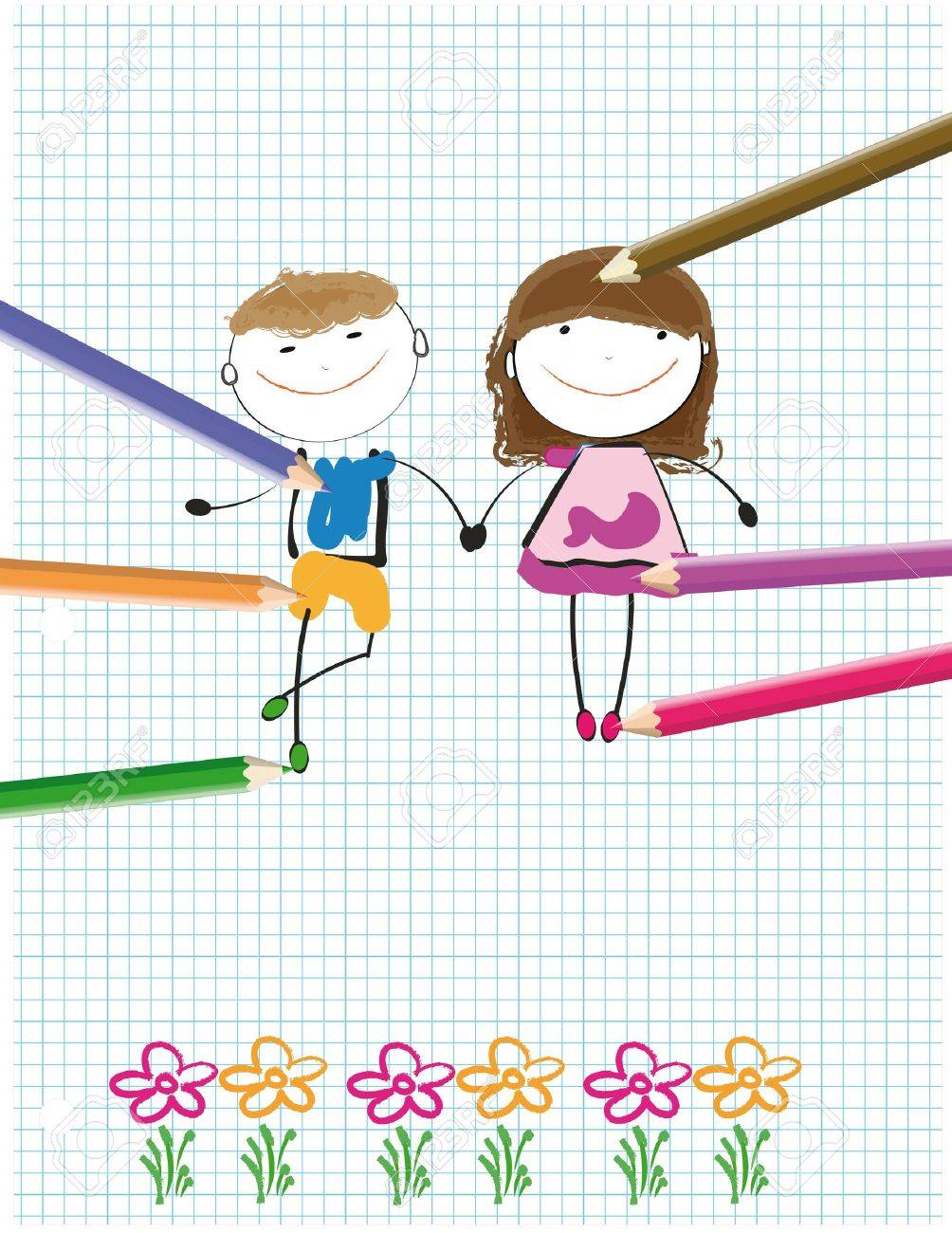 Colorful Kids Drawing On Sheet Of Paper Royalty Free Cliparts ...