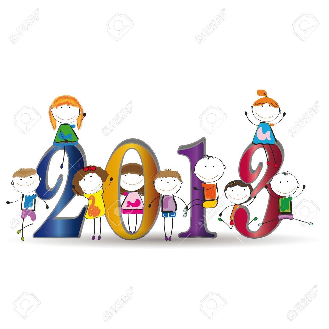Cute card on New Year 2013 with happy kids Stock Vector - 14594121