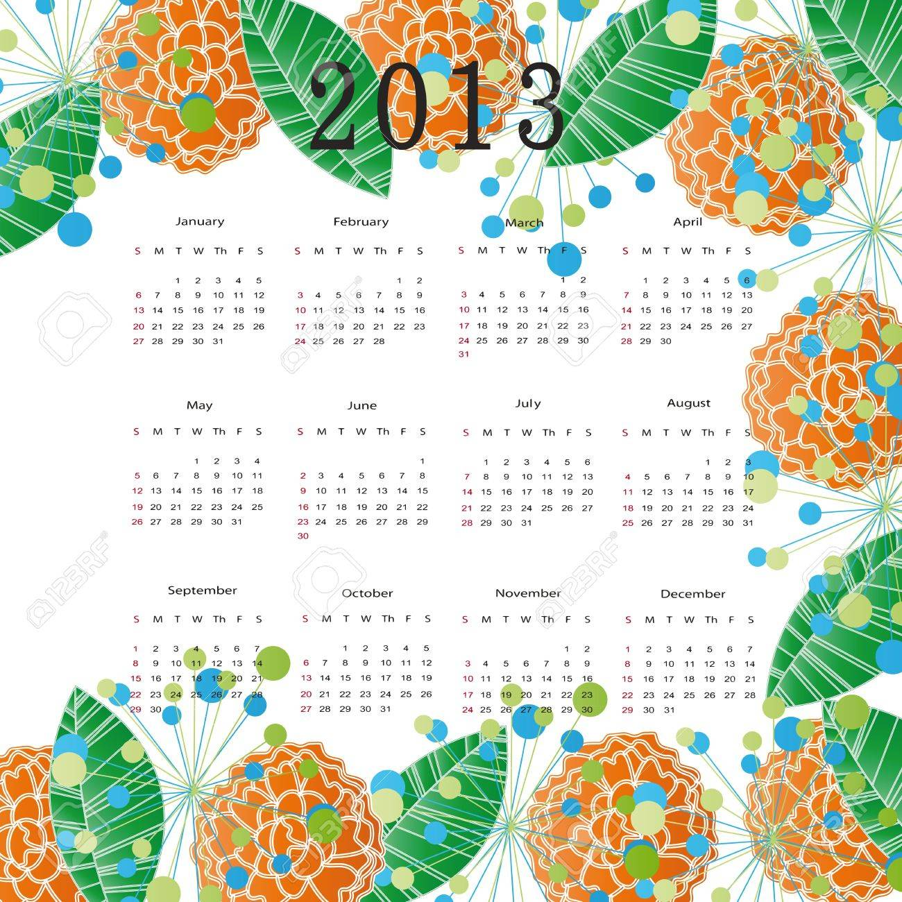 Cute calendar on New Year 2013 with flowers Stock Vector - 14719821