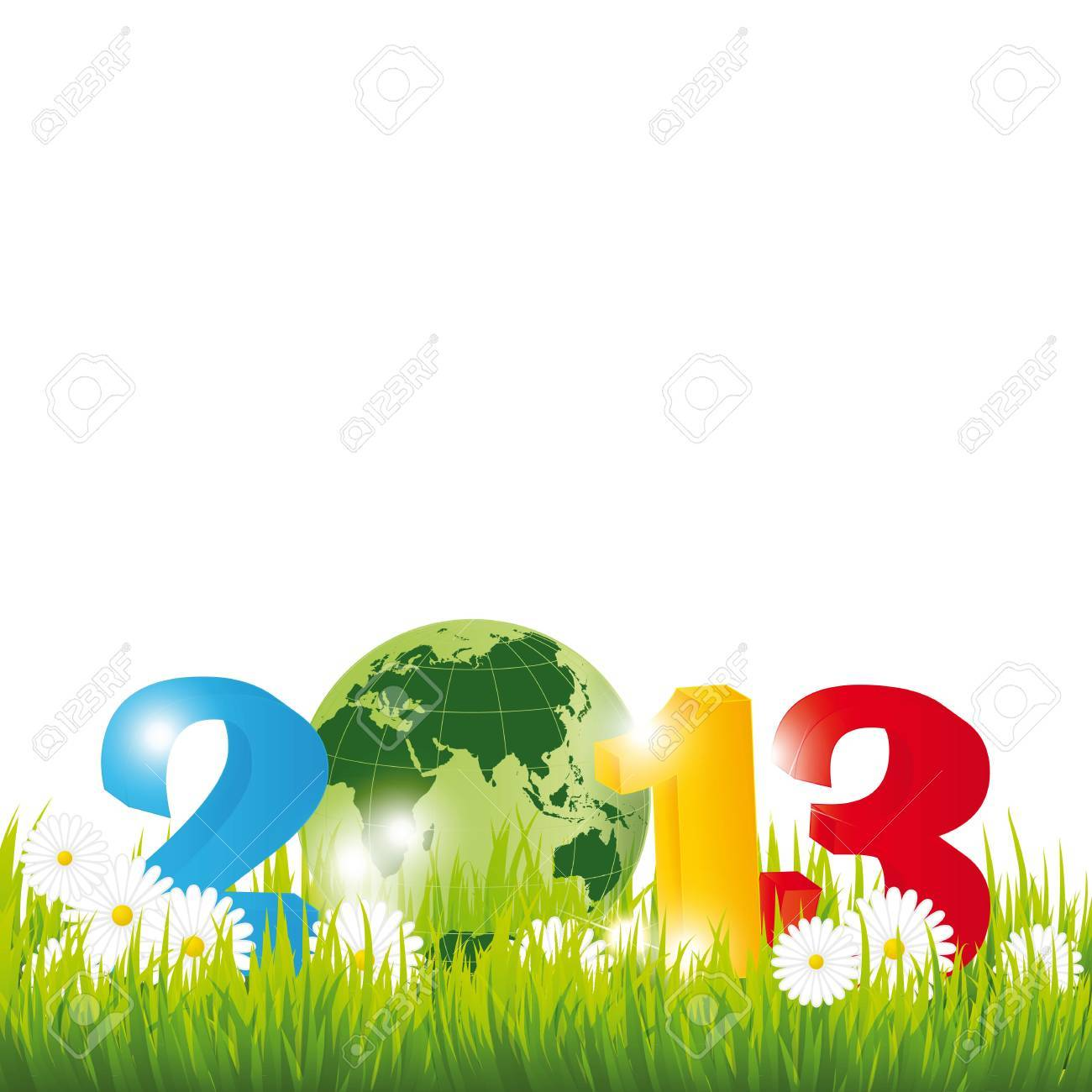 Cute card on New Year 2013 with globe Stock Vector - 15017739
