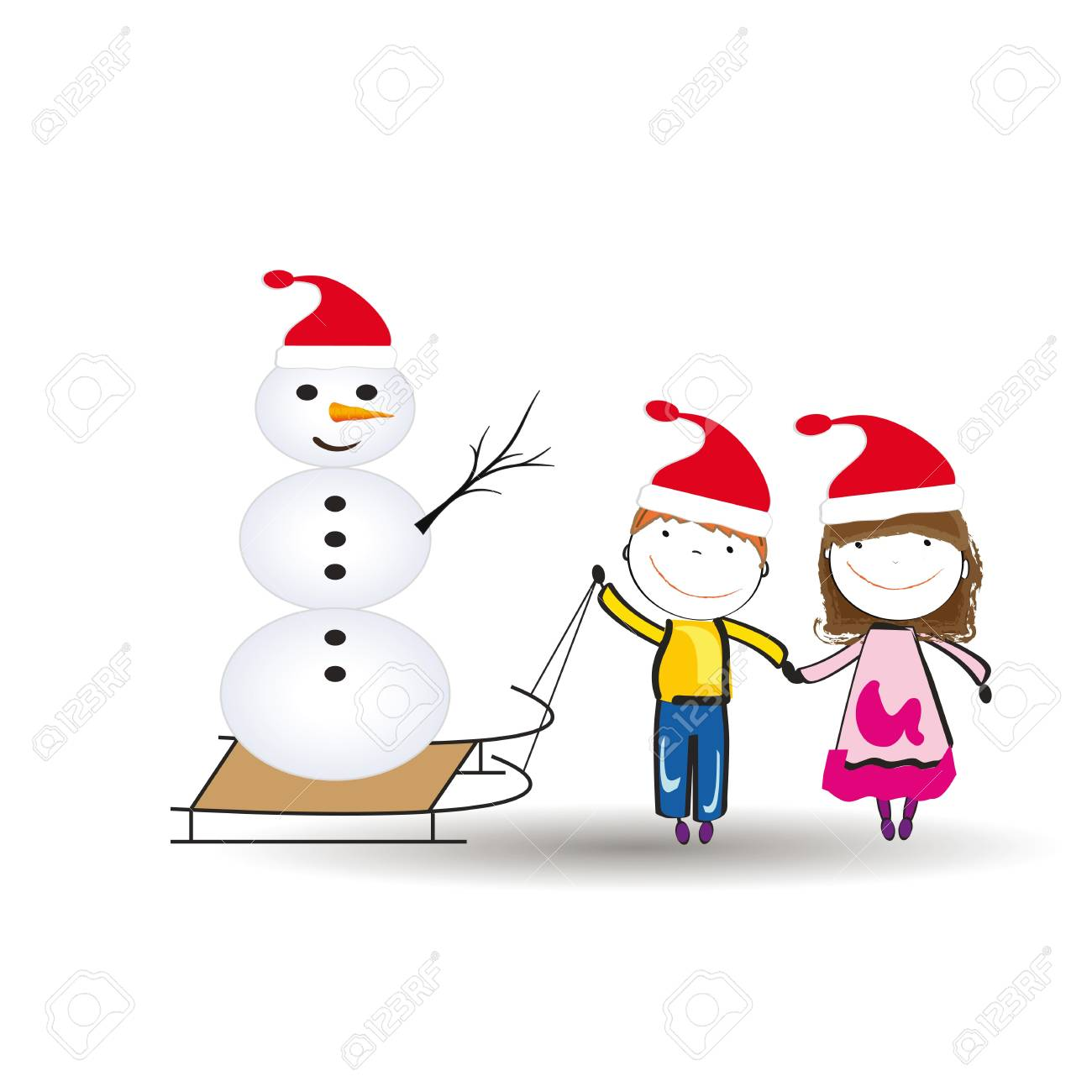 Small and happy kids in winter with sledge Stock Vector - 15554582