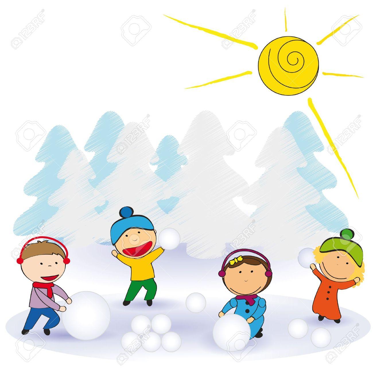 Kleine Und Glückliche Kinder Im Winter Mit Schnee Lizenzfrei
