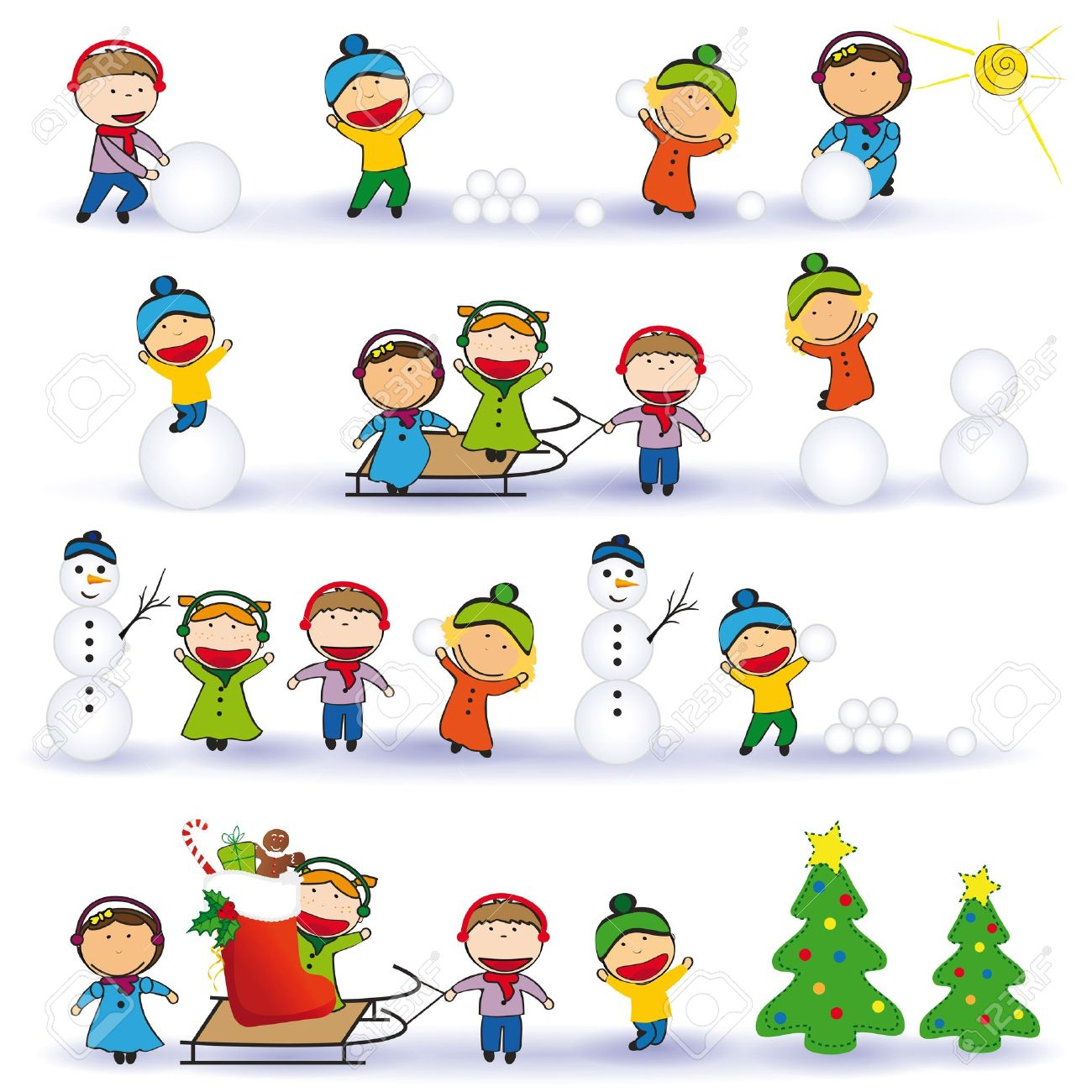 Winter And Christmas Background With Happy Kids Royalty Free ...