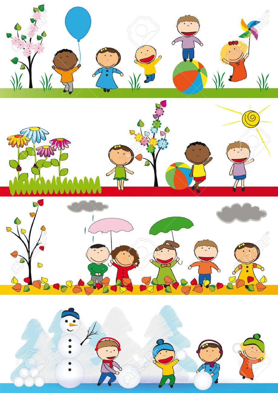 spring summer autumn and winter happy kids stock vector 15701306 - Spring Pictures For Kids