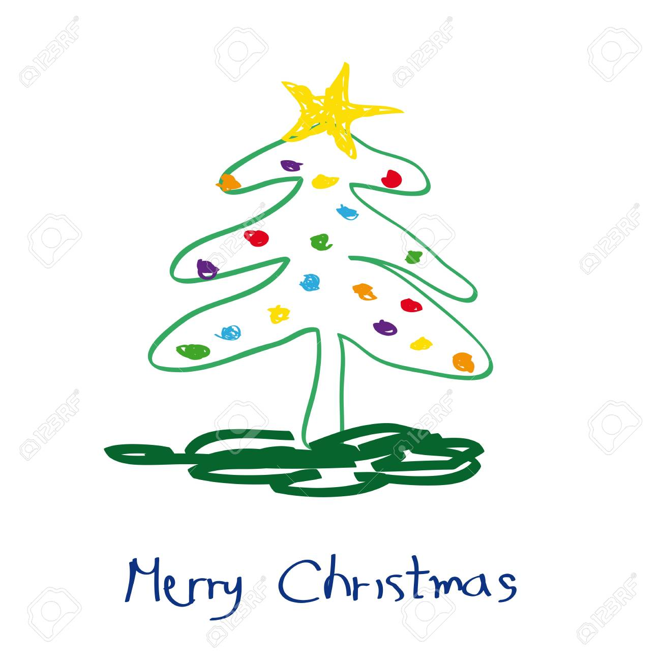 Cute And Simple Christmas Card With Christmas Tree Royalty Free ...