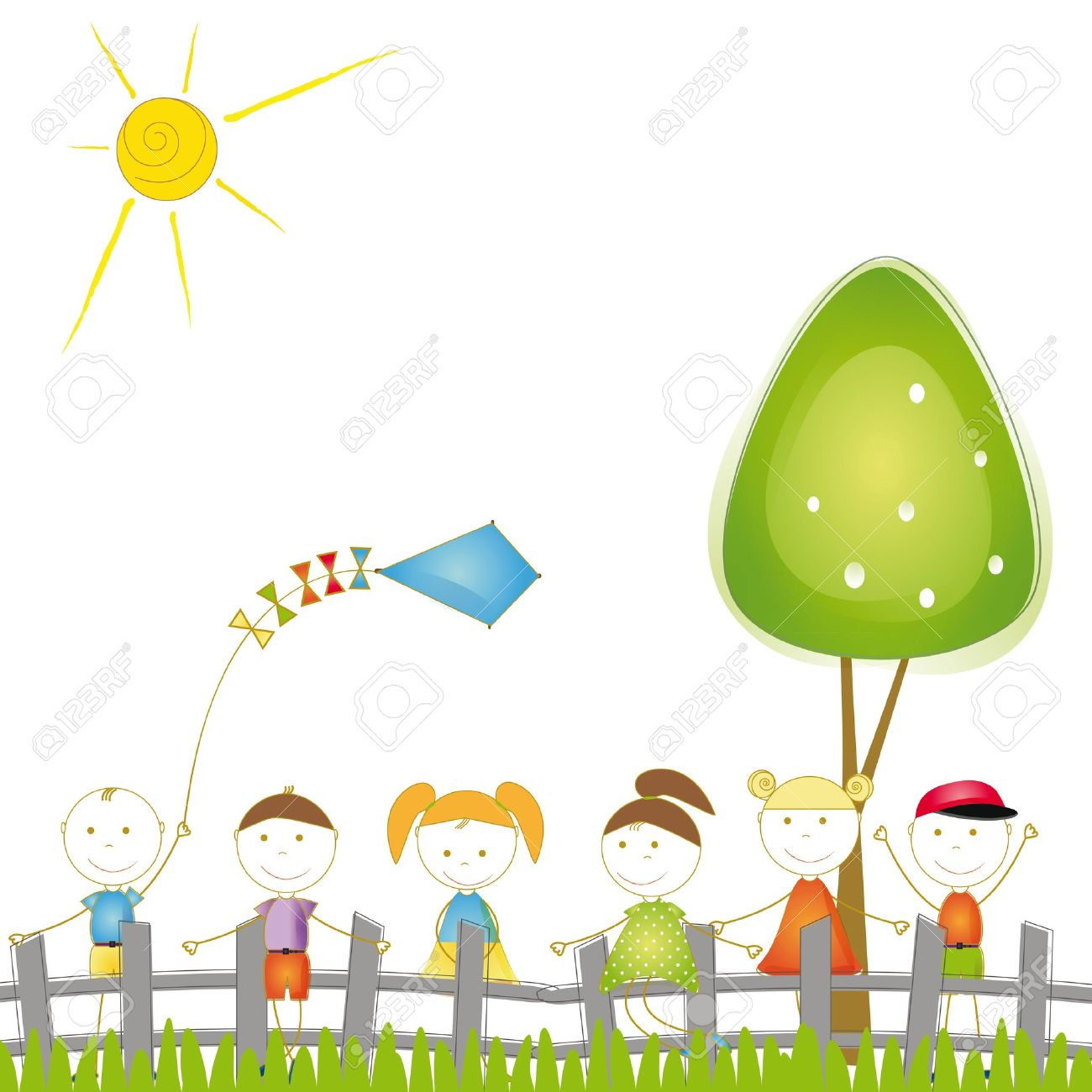 Happy and cute boys and girls playing in garden Stock Vector - 16005506