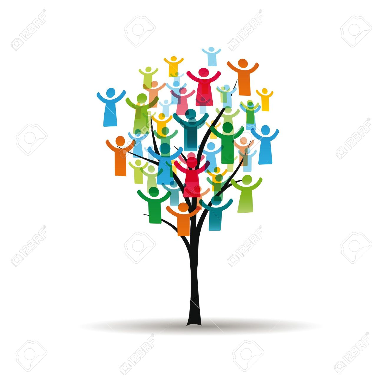 Abstract and colorful figures showing happy peoples on tree Stock Vector - 16135921