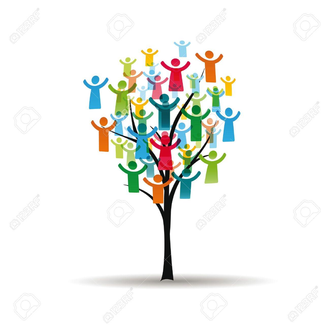 Figuras abstractas y coloridas que muestran los pueblos felices en el árbol Foto de archivo - 16135921
