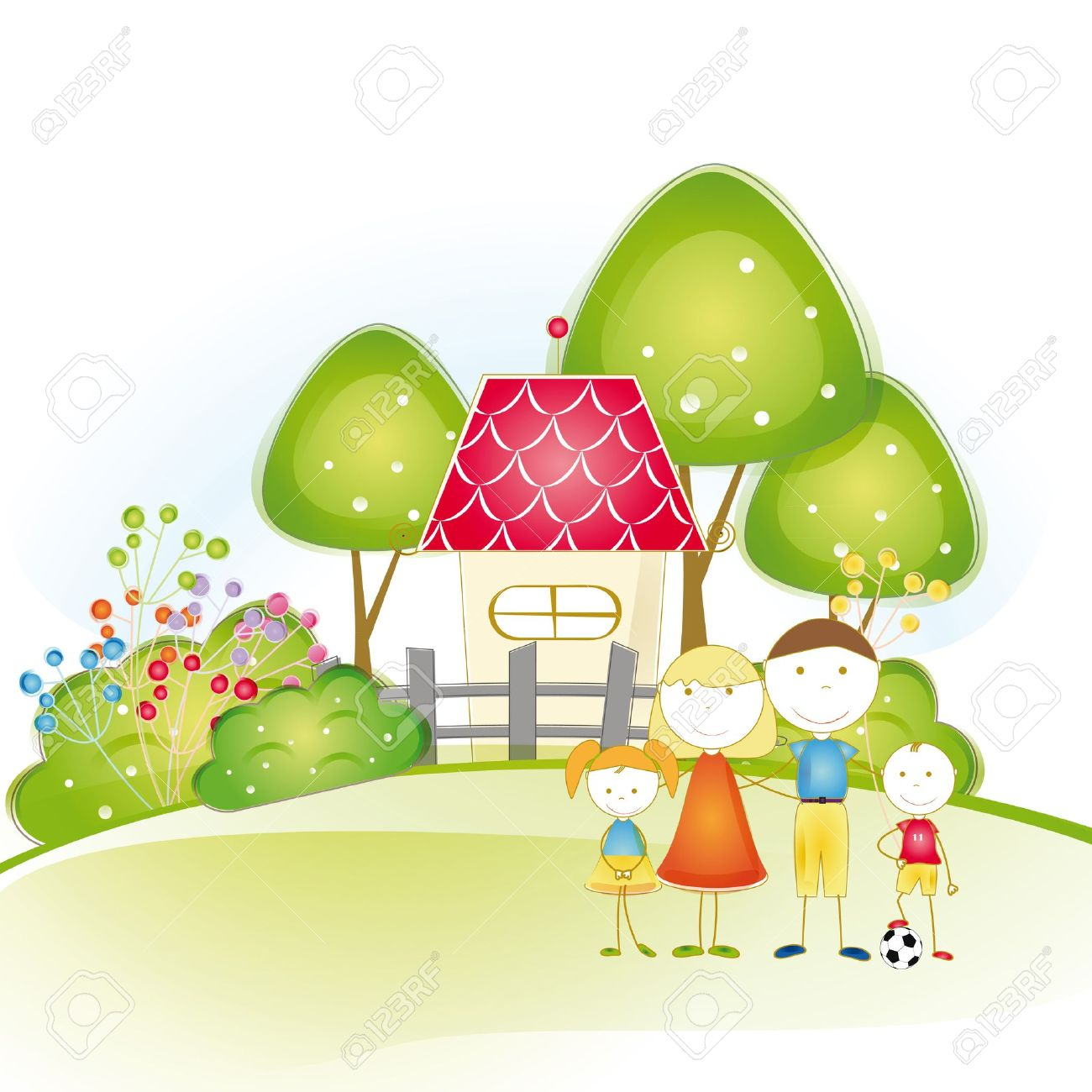 Super Cute And Happy All Family With As House Royalty Free Cliparts Largest Home Design Picture Inspirations Pitcheantrous