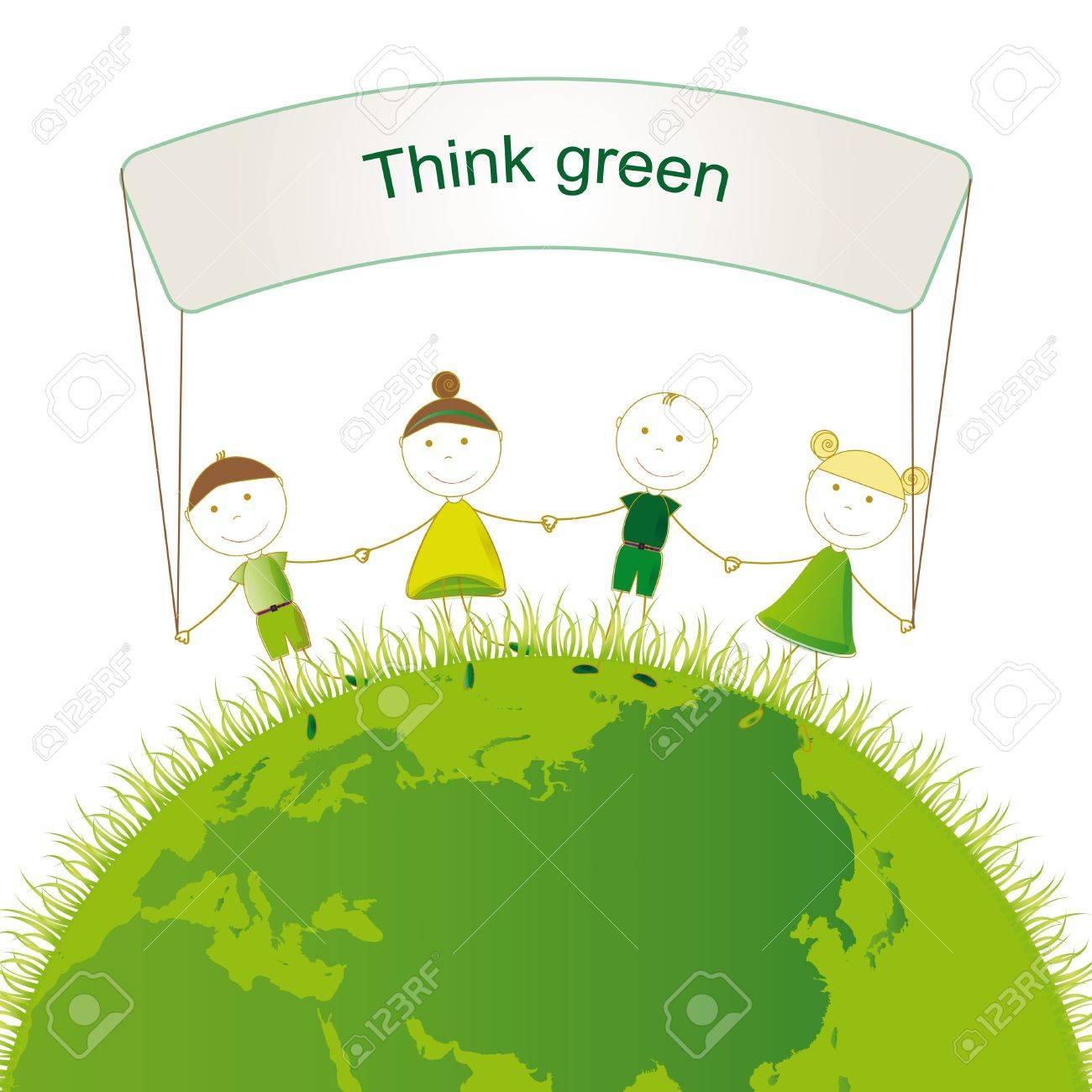 Happy girls and boys on green globe Stock Vector - 16505181