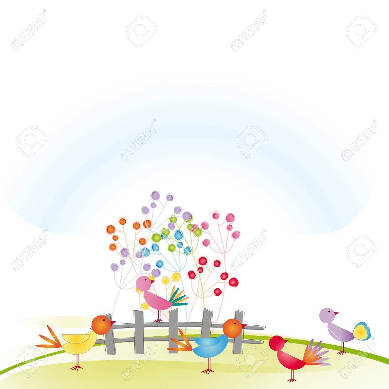 Colorful and cute birds on grass and fence Stock Vector - 16505165