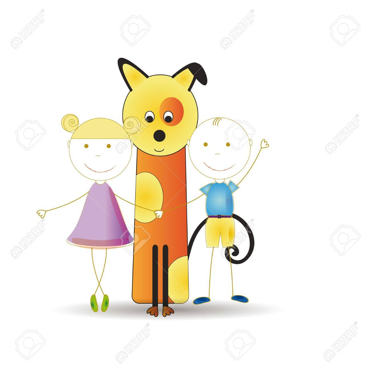 Abstract and cute colorful kids with dog Stock Vector - 16553218
